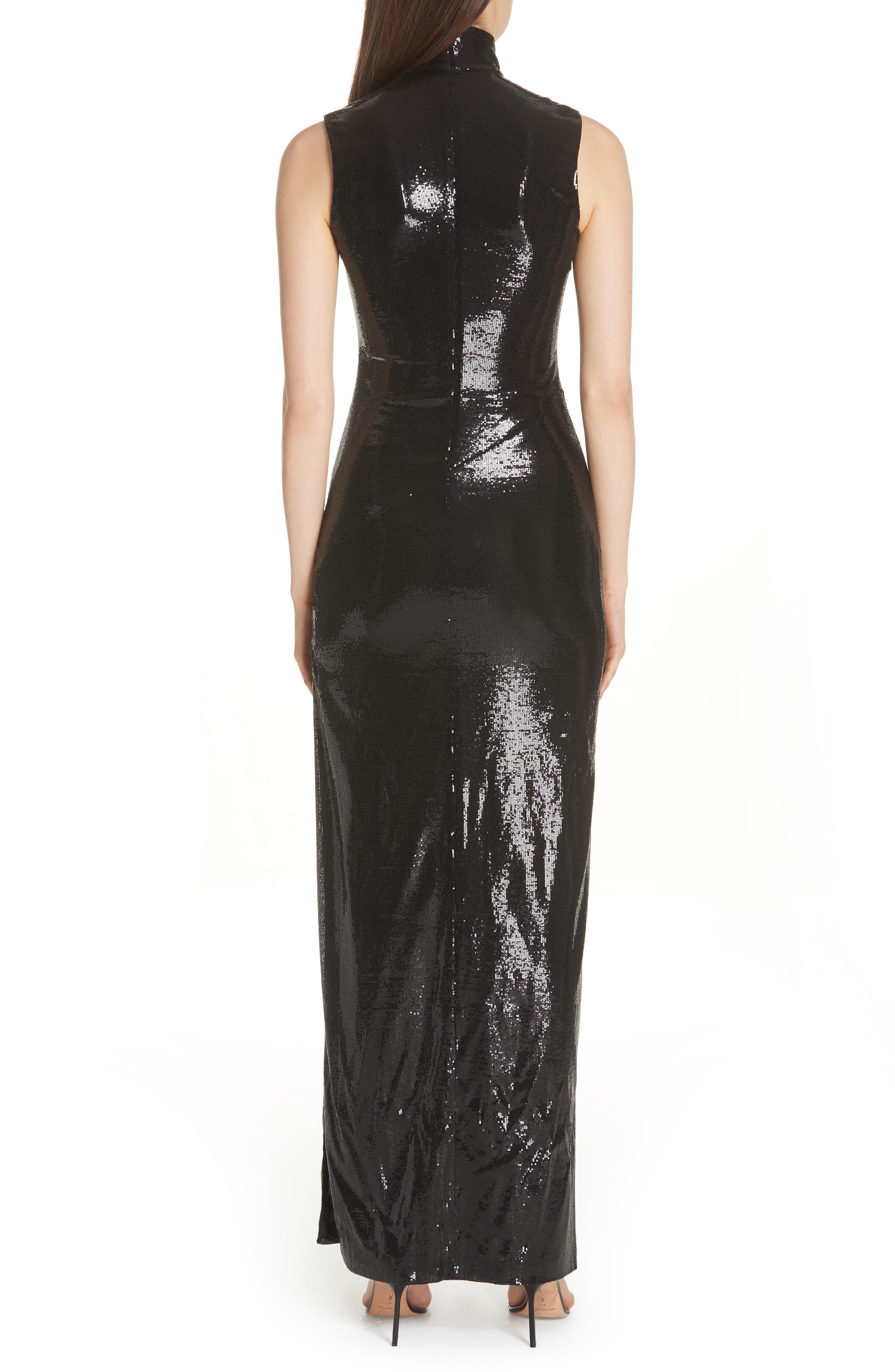 GALVAN,                             Turtleneck Sequin Gown,                             Alternate thumbnail 2, color,                             BLACK