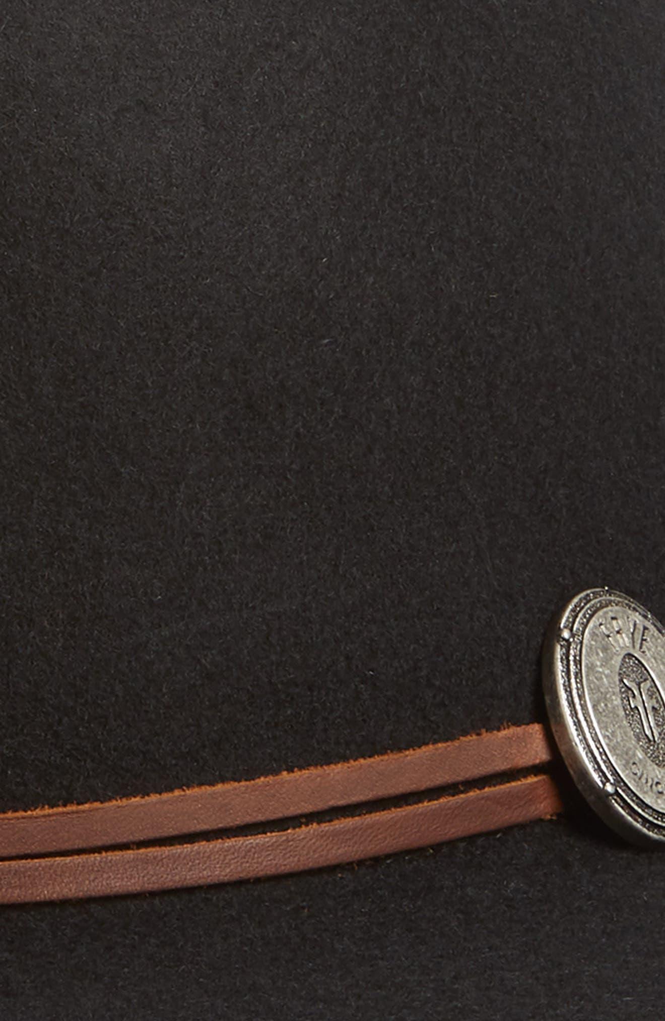 Cadet Dented Crown Wool Felt Hat,                             Alternate thumbnail 2, color,                             BLACK
