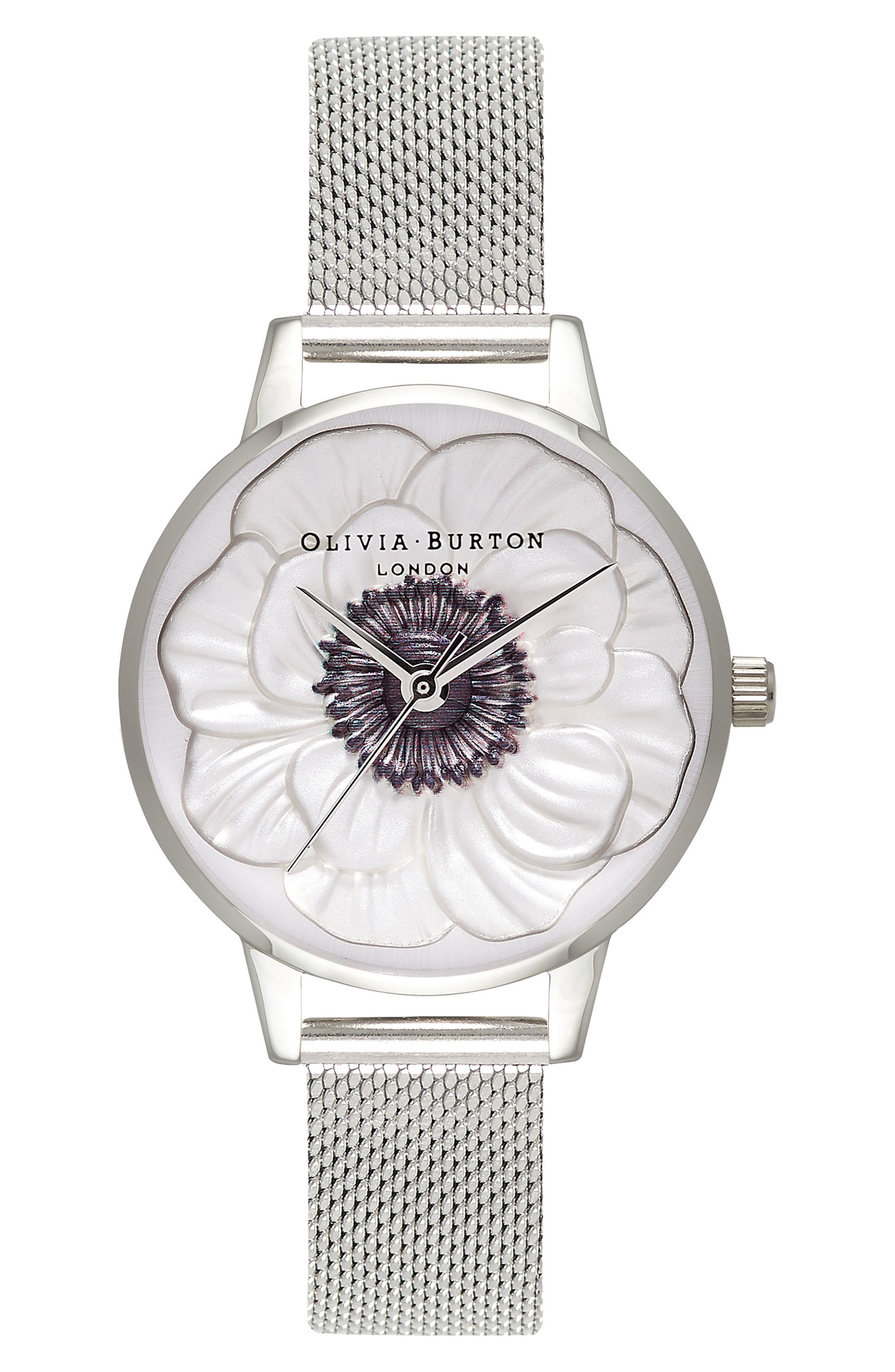 3D Anemone Mesh Strap Watch, 30mm,                             Main thumbnail 1, color,                             SILVER/ BLACK/ SILVER