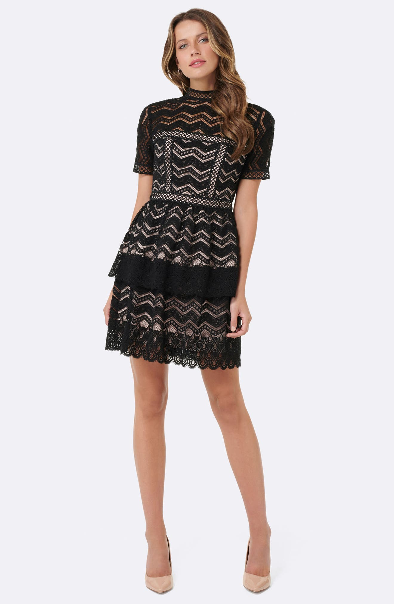 Tiered Lace Fit & Flare Dress,                             Alternate thumbnail 8, color,                             001