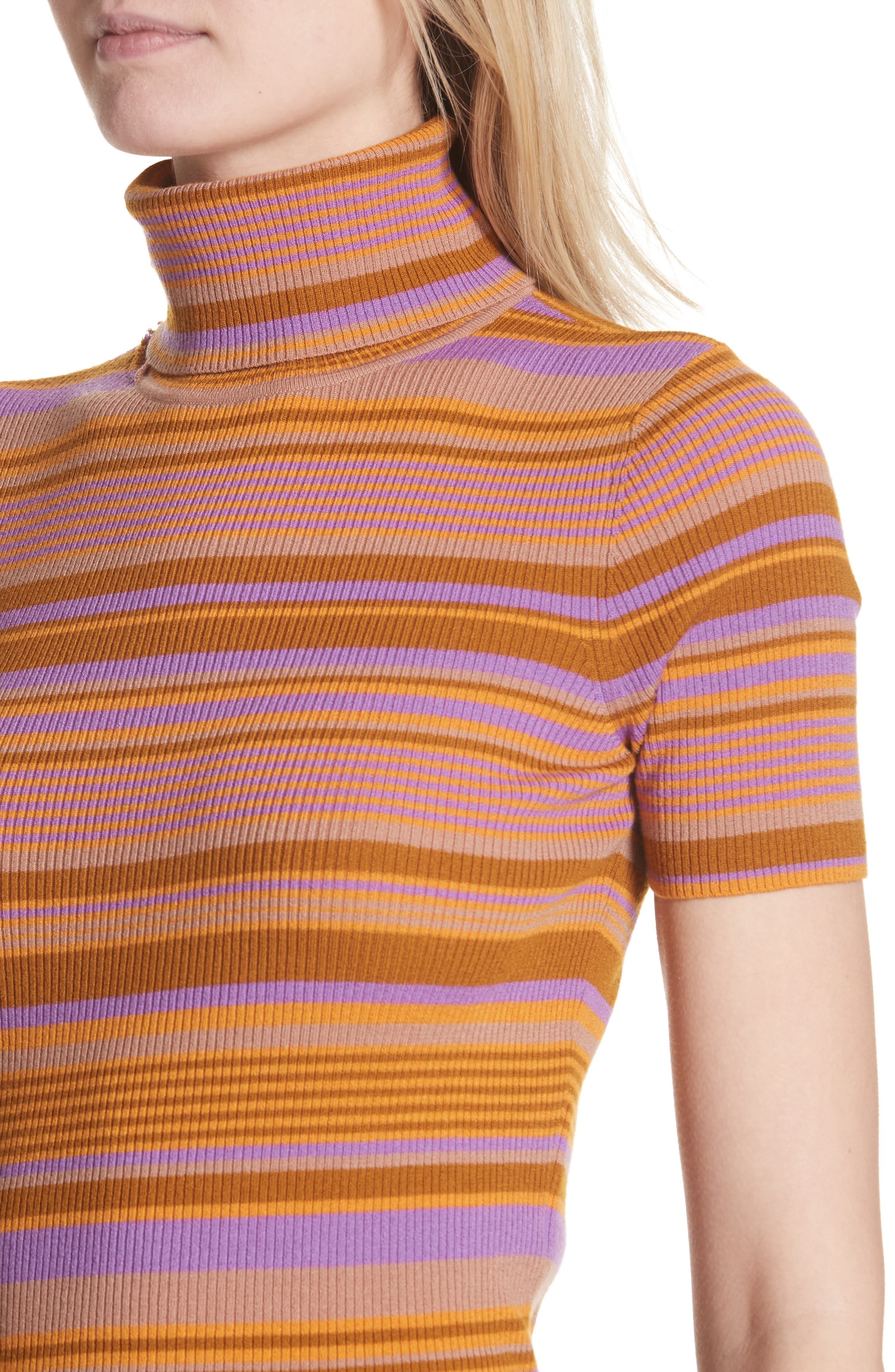 Doninico Stripe Turtleneck Stretch Wool Sweater,                             Alternate thumbnail 4, color,                             560