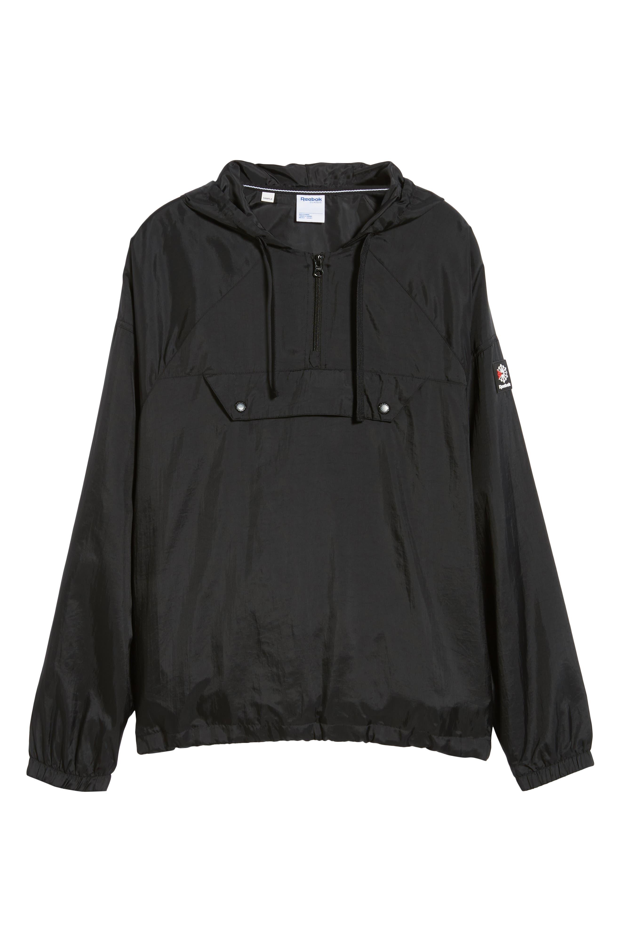 Half Zip Hooded Pullover,                             Alternate thumbnail 5, color,                             BLACK