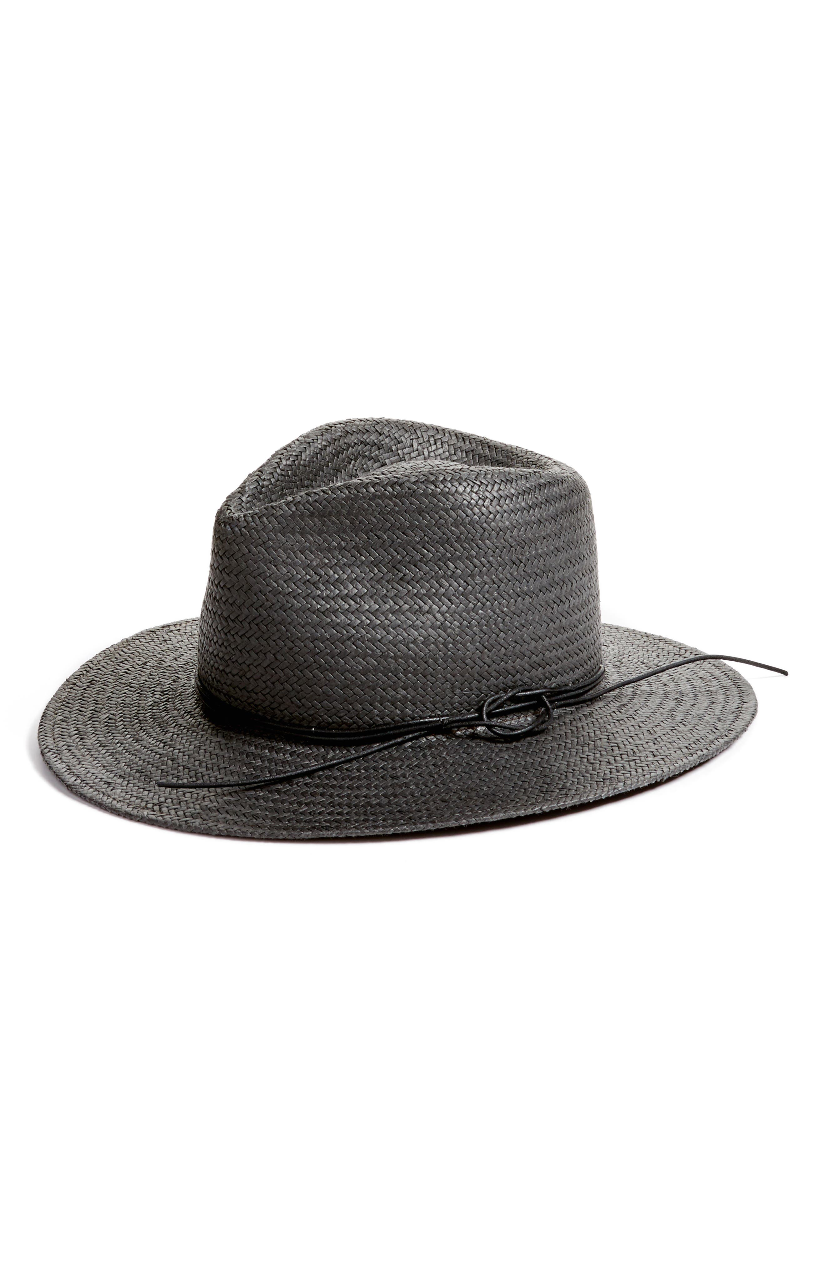 Packable Straw Fedora,                         Main,                         color, 001