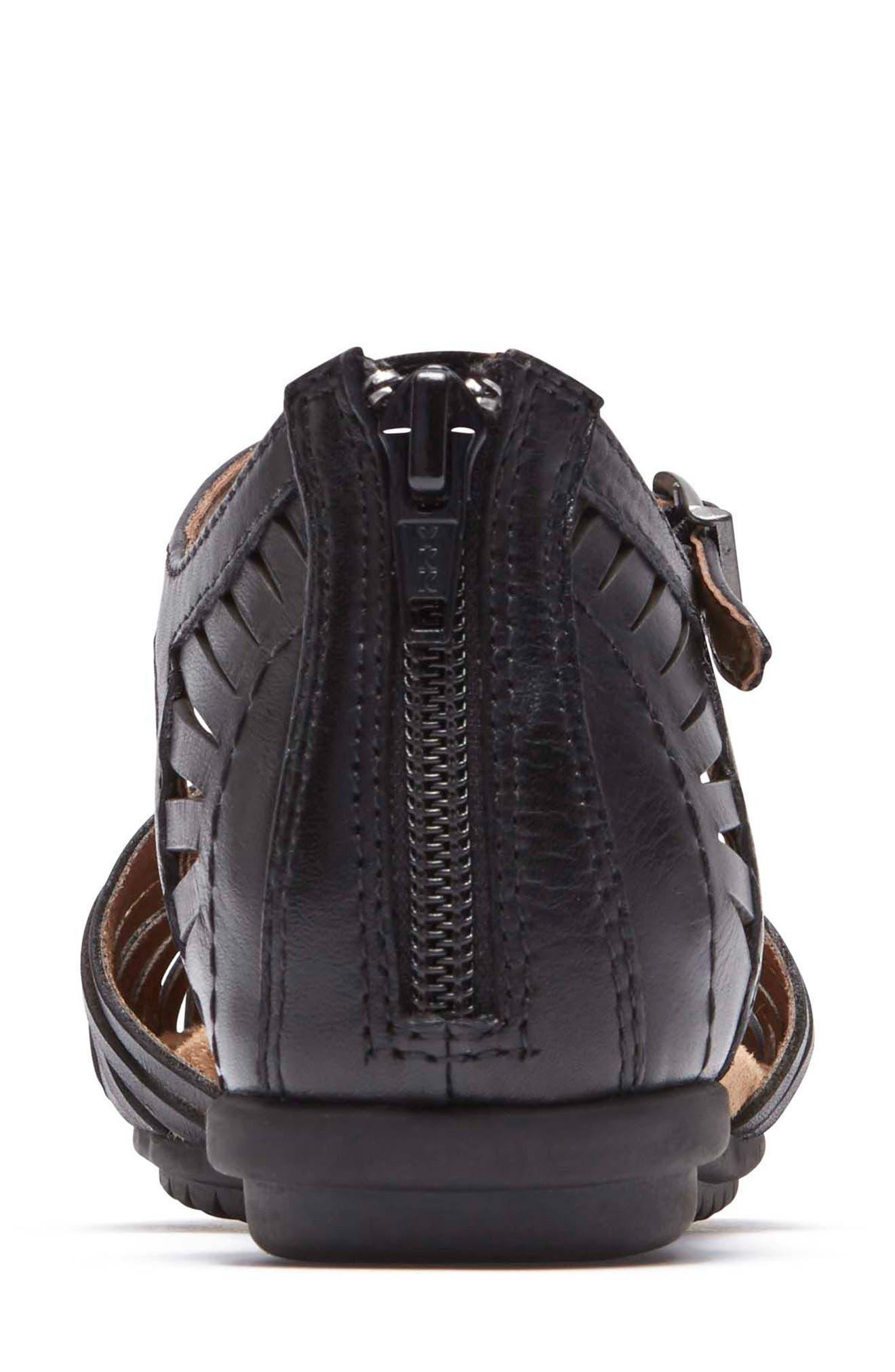 Inglewood Huarache Sandal,                             Alternate thumbnail 7, color,                             BLACK LEATHER