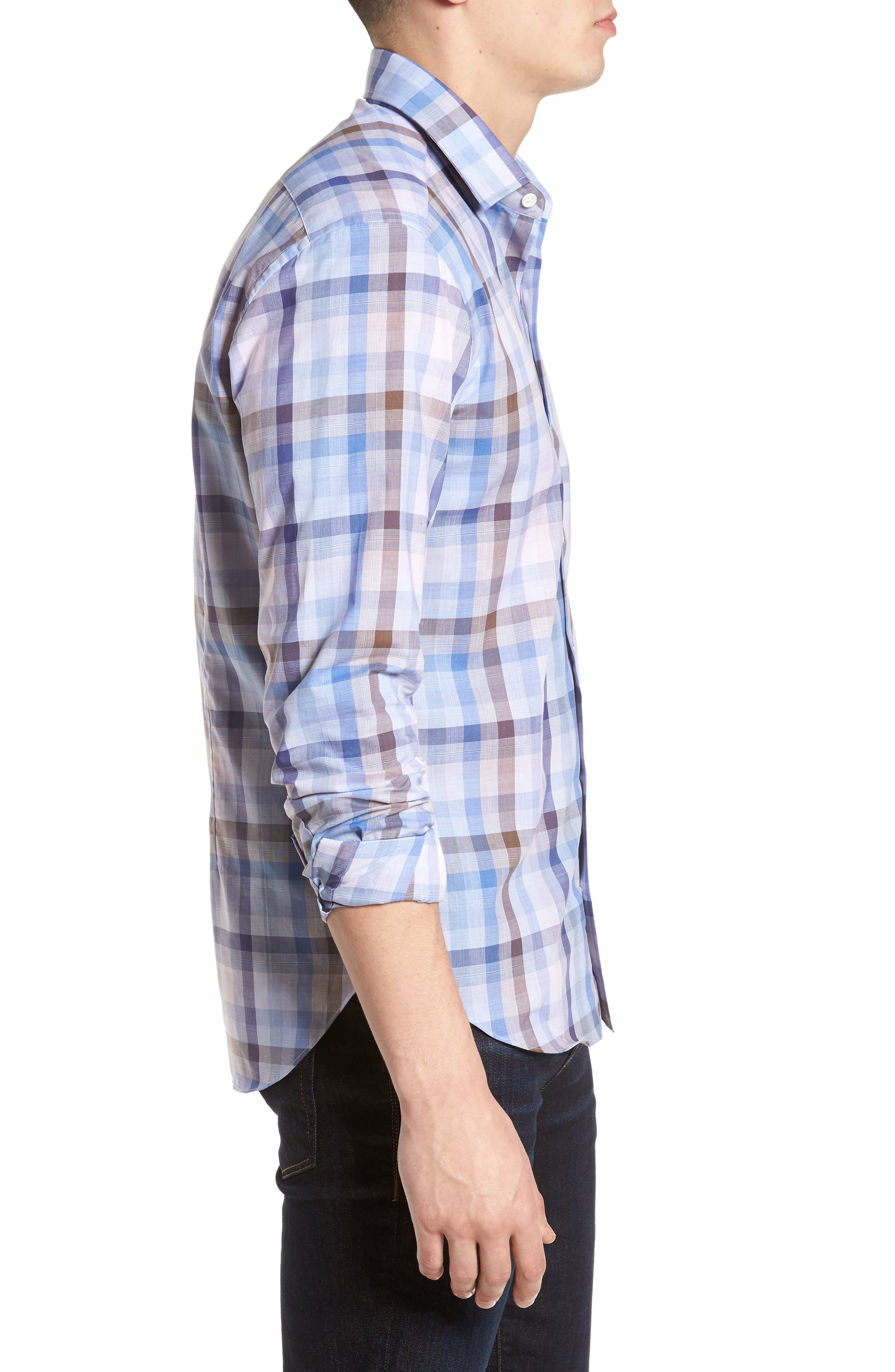 Tailored Fit Plaid Sport Shirt,                             Alternate thumbnail 3, color,                             650