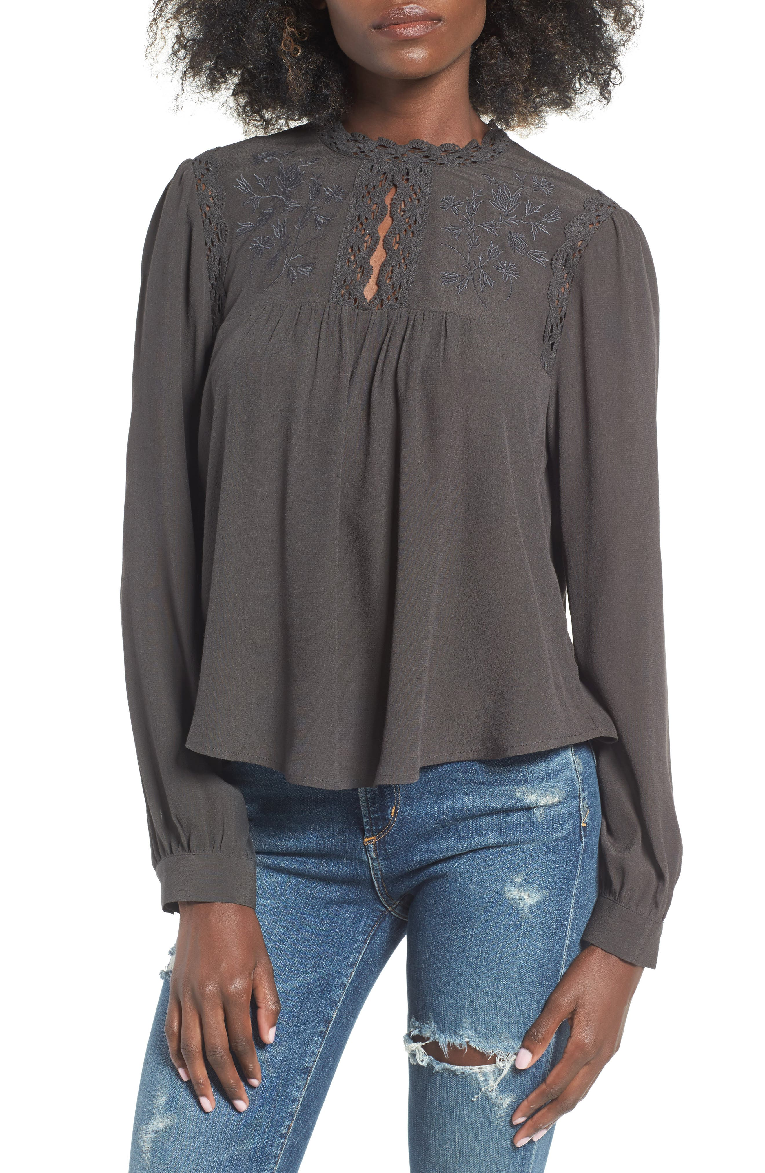 ASTR Embroidered Blouse,                         Main,                         color, 020