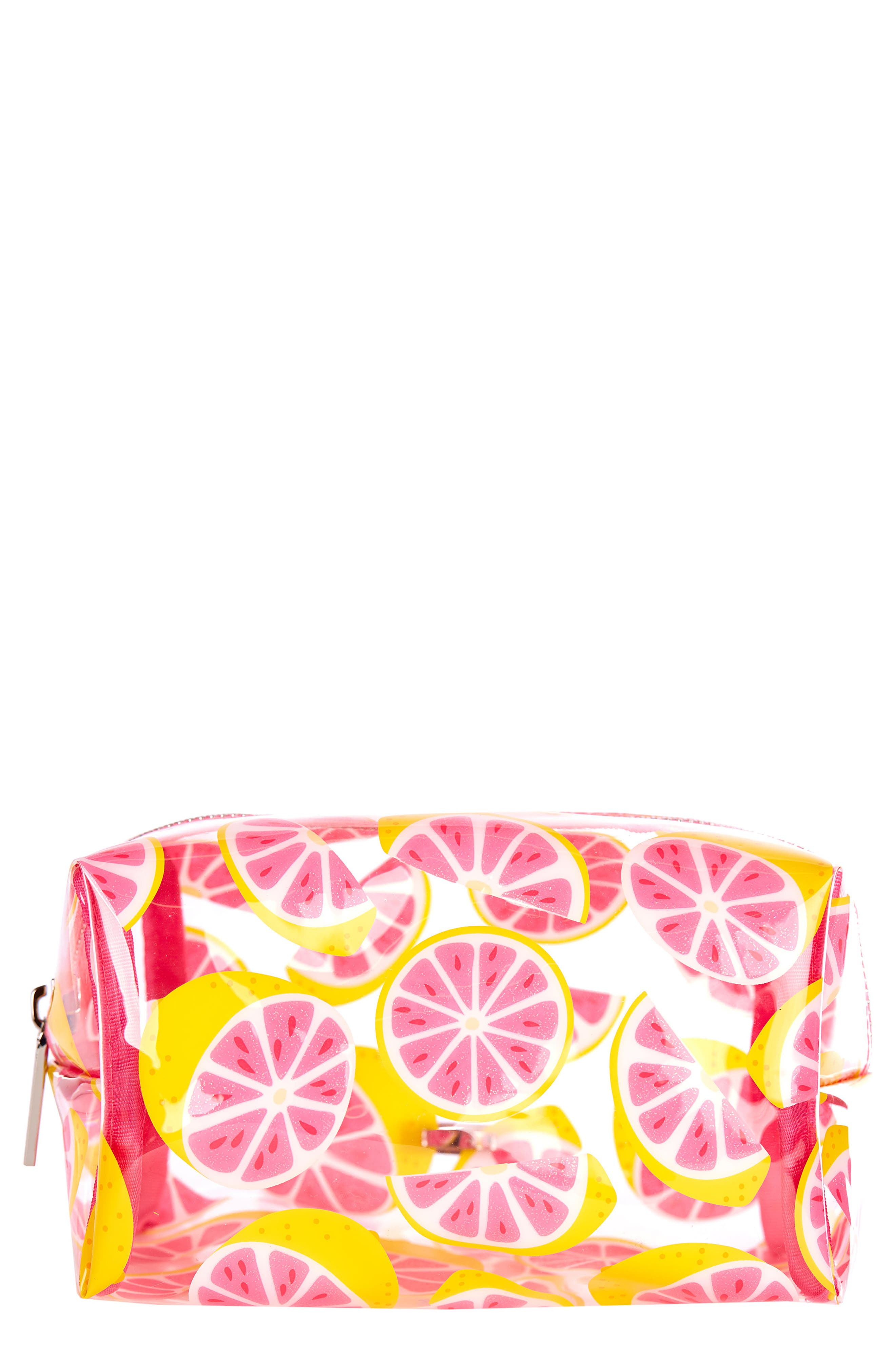 Skinny Dip Glitter Grapefruit Cosmetics Case,                             Main thumbnail 1, color,                             NO COLOR