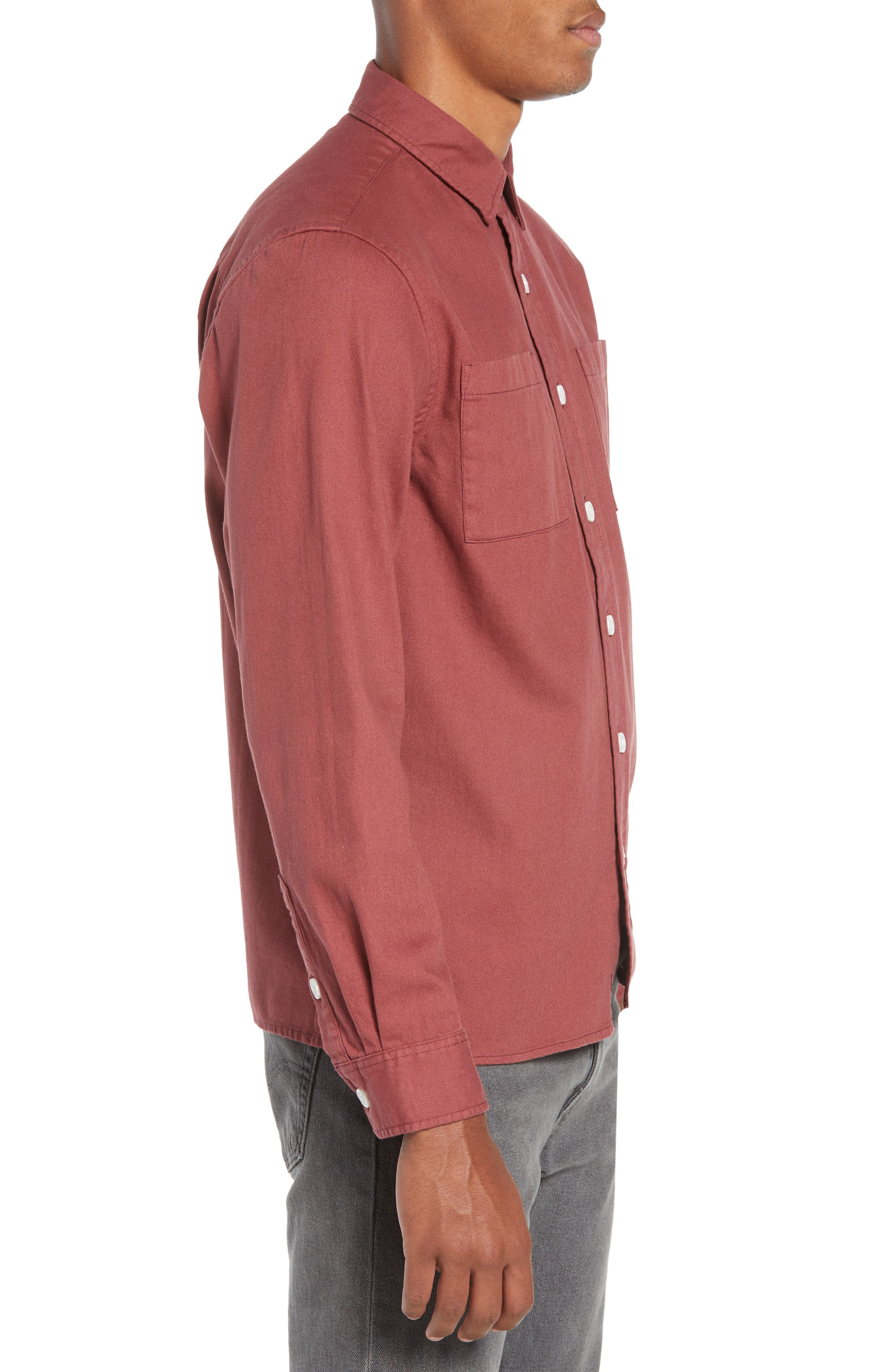 Nolan Washed Denim Sport Shirt,                             Alternate thumbnail 4, color,                             LIGHT PLUM