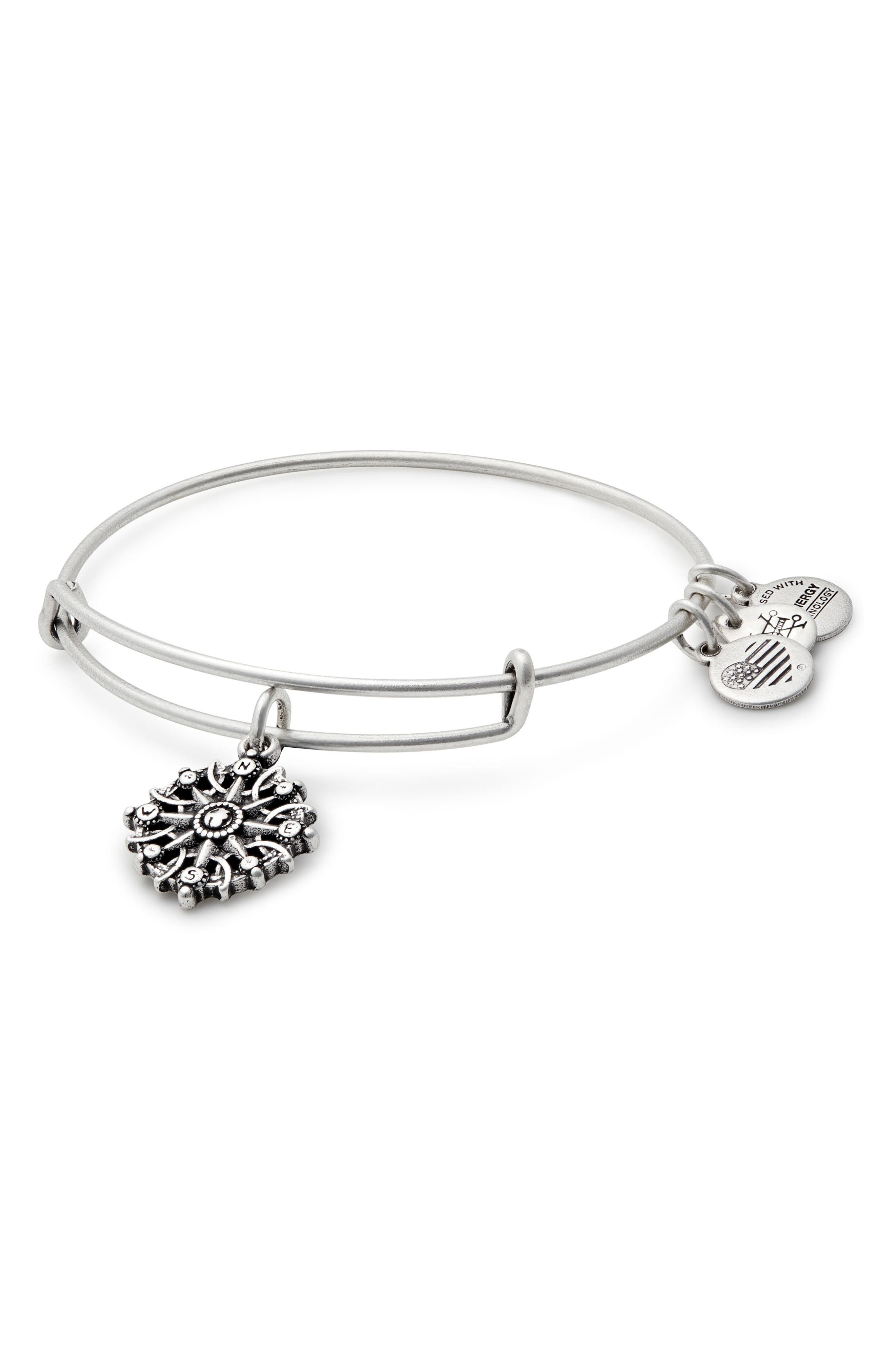Compass Adjustable Wire Bangle,                         Main,                         color, RUSSIAN SILVER