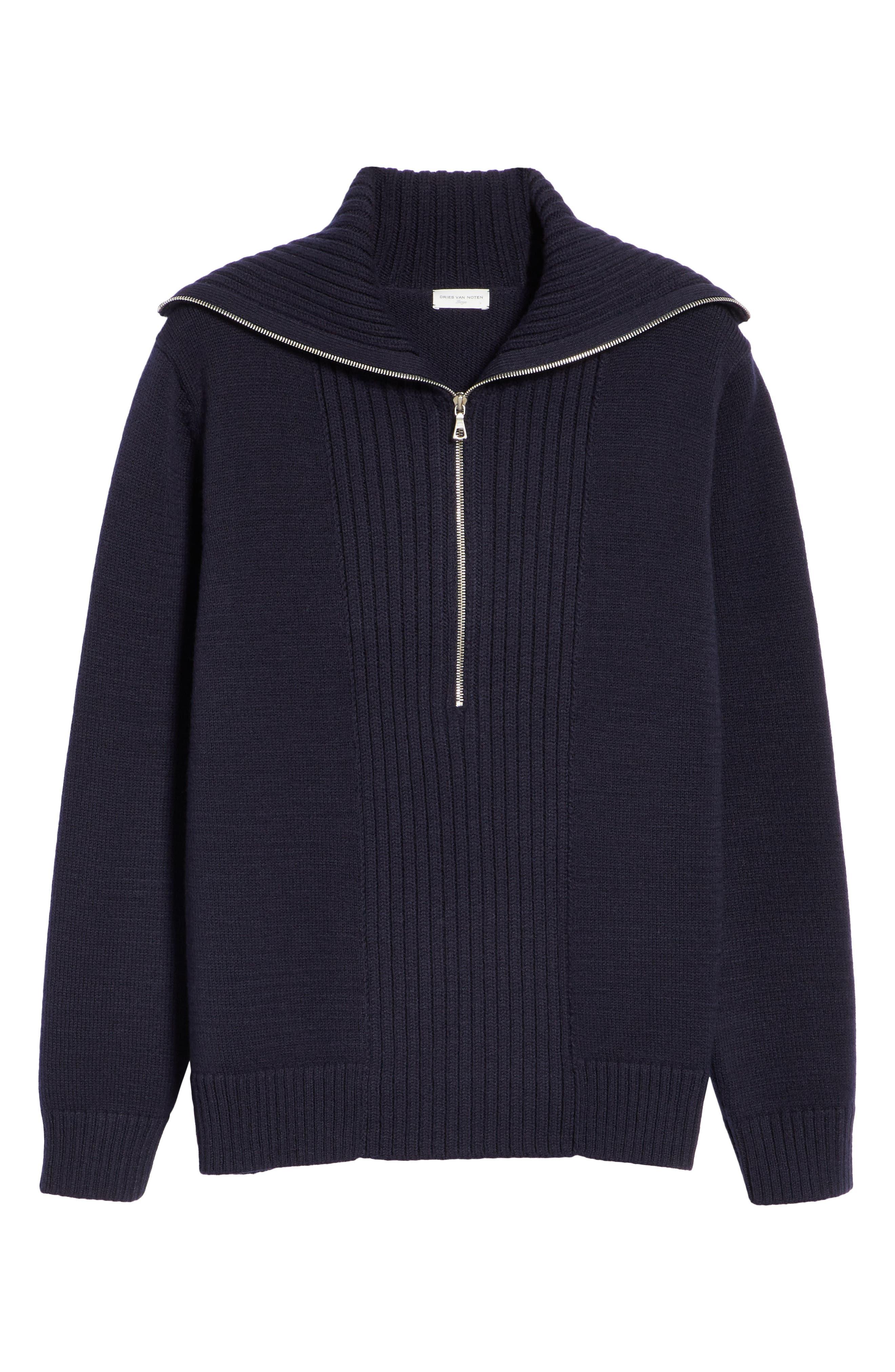 Mikhos Half Zip Sweater,                             Alternate thumbnail 6, color,                             NAVY