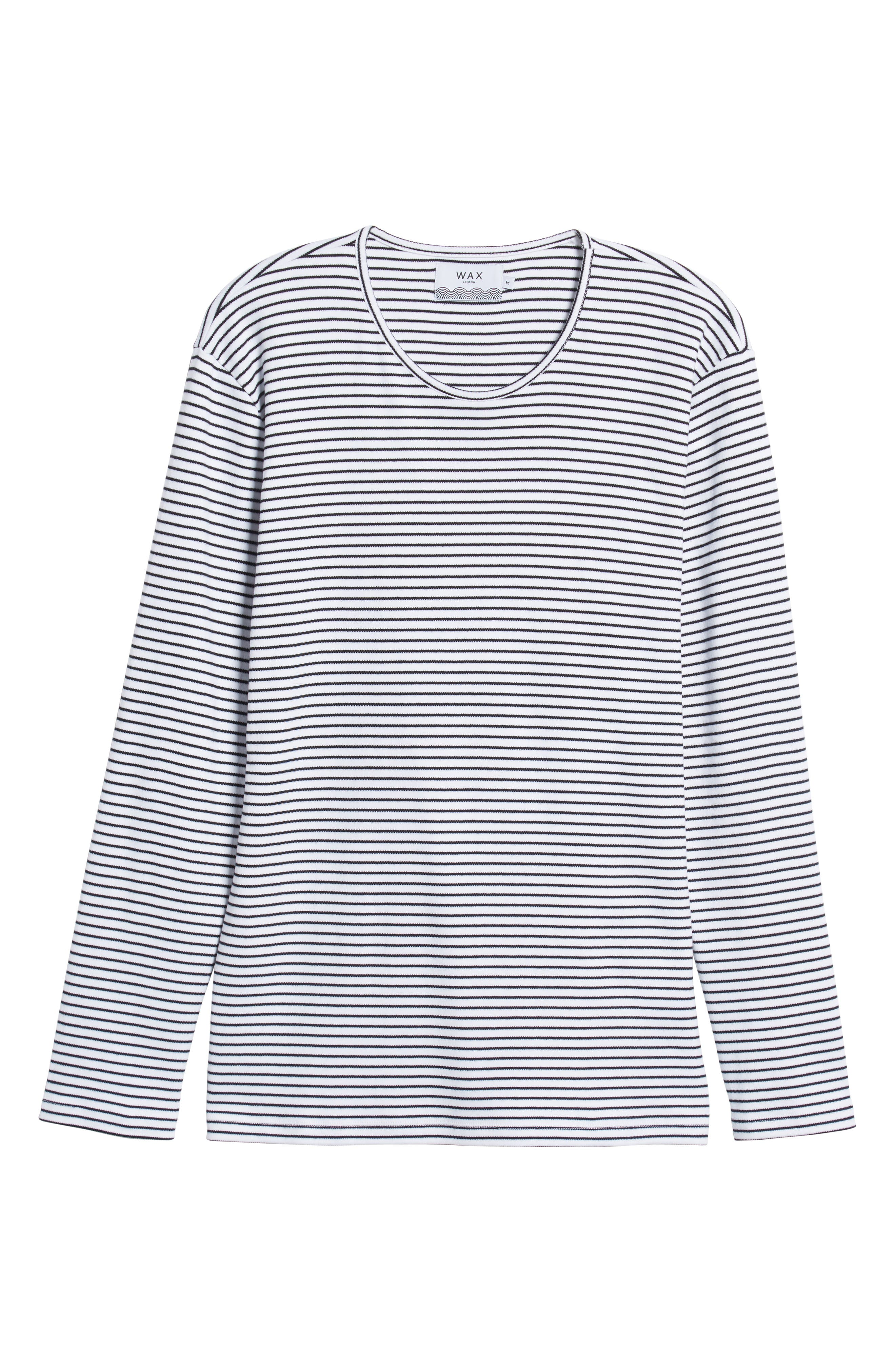 Finham Stripe Long Sleeve T-Shirt,                             Alternate thumbnail 6, color,                             WHITE / BLACK STRIPE