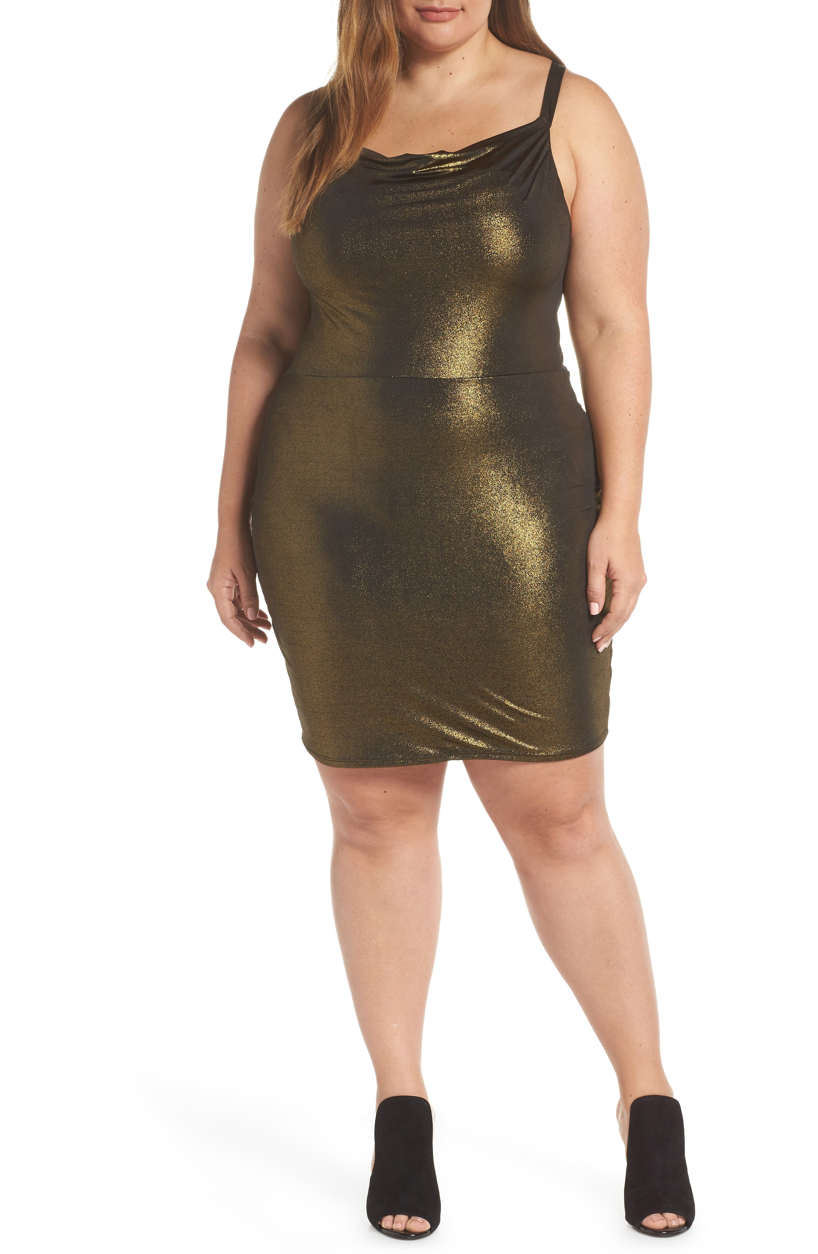 Cowl Neck Minidress,                         Main,                         color, METALLIC GOLD