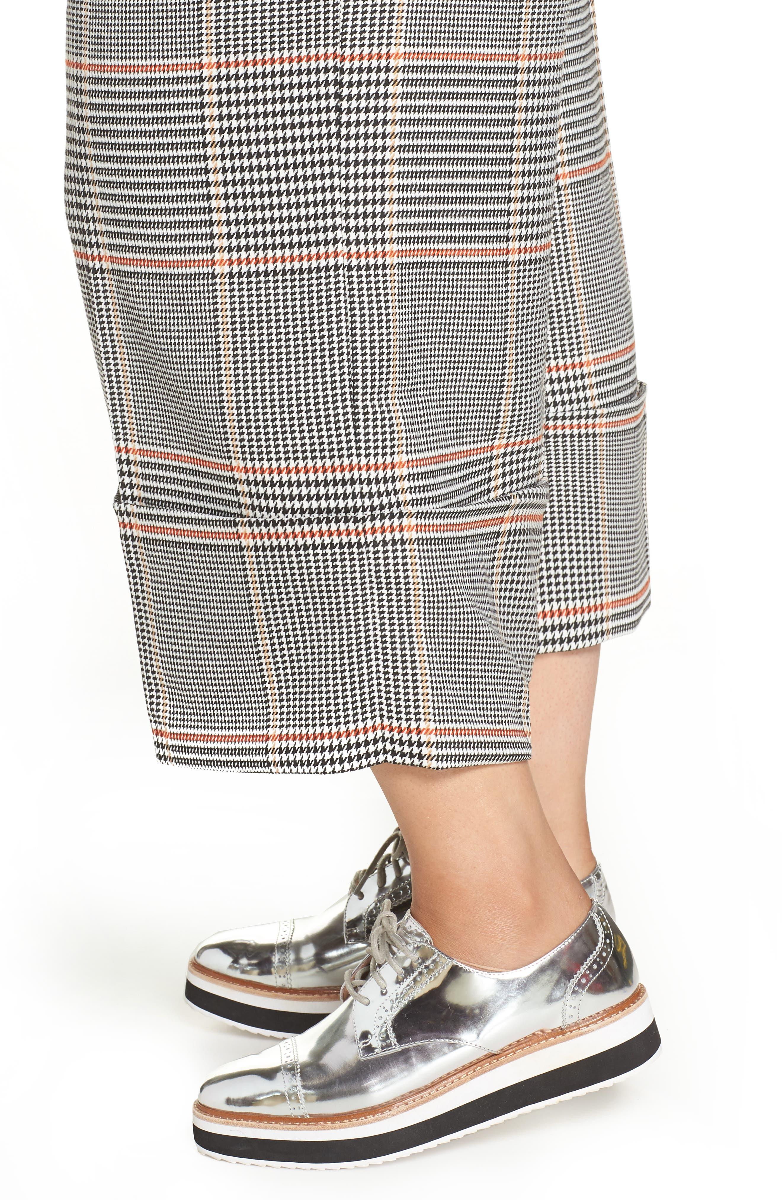x Atlantic-Pacific Plaid Wide Leg Crop Pants,                             Alternate thumbnail 4, color,                             BLACK PLAID