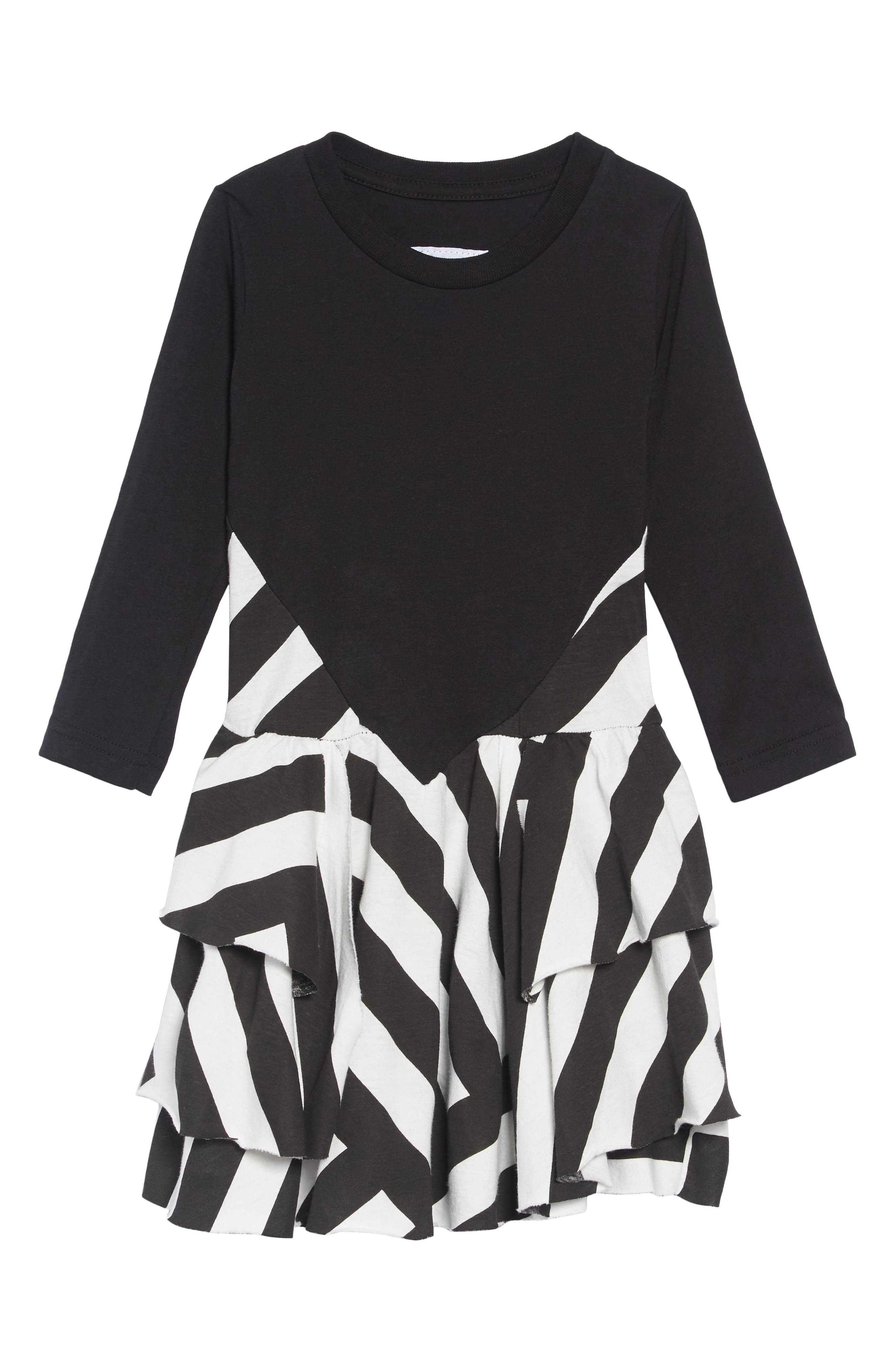 Stripe Dress,                         Main,                         color, BLACK