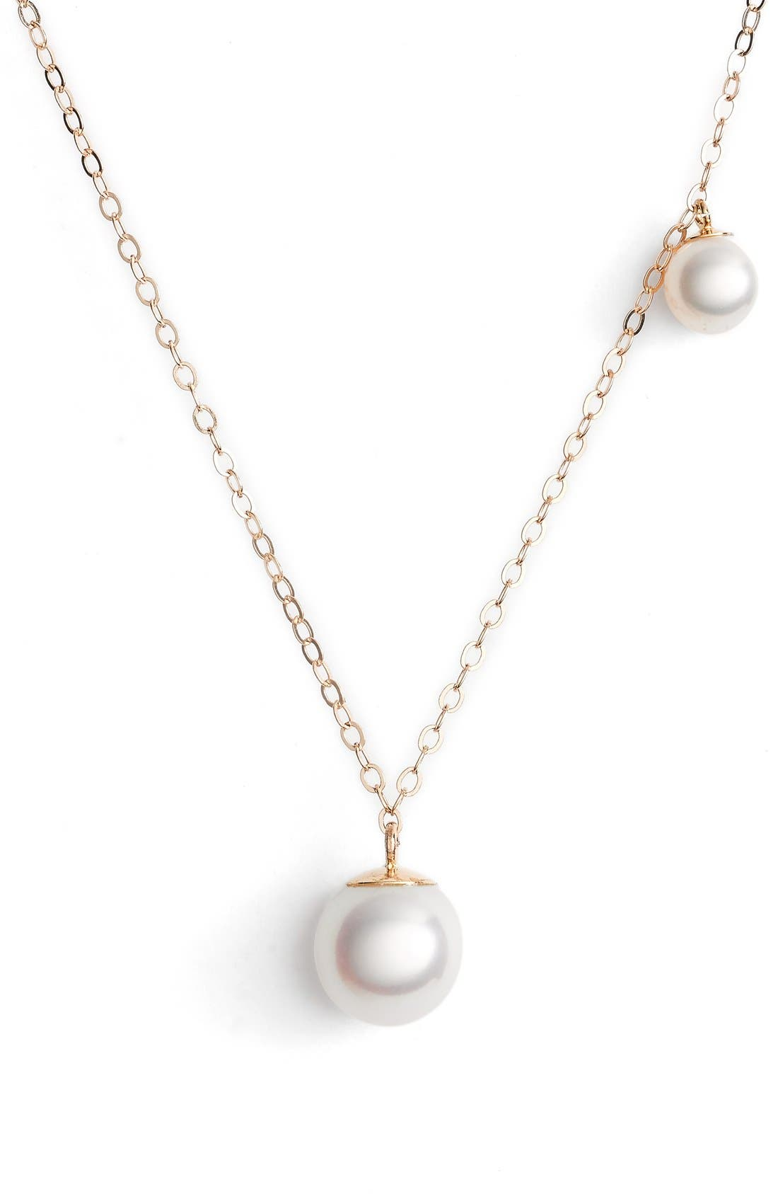 Double Pearl Pendant Necklace,                             Main thumbnail 1, color,                             YELLOW GOLD/ PEARL