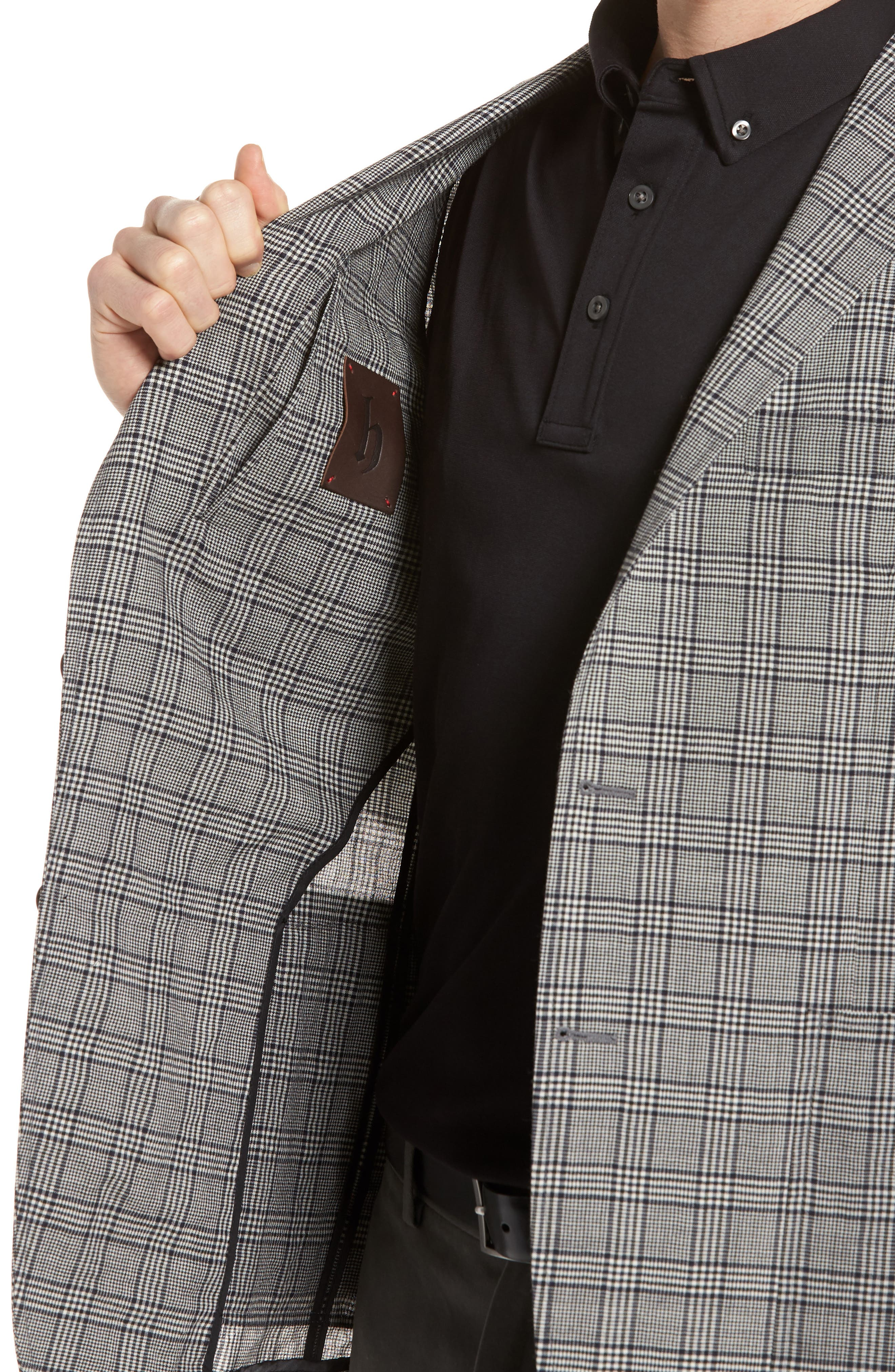 Modern Fit Plaid Wool Sport Coat,                             Alternate thumbnail 4, color,
