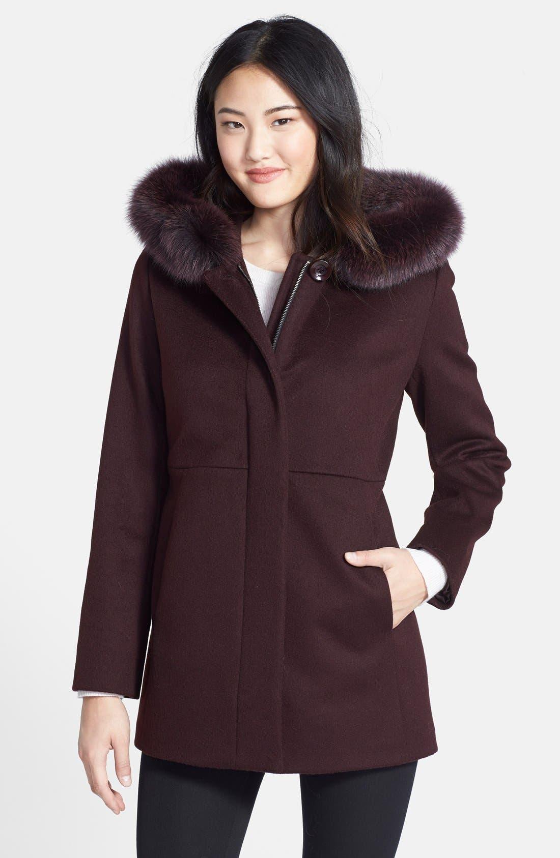 Genuine Fox Fur Trim Hooded Wool Blend Coat,                             Main thumbnail 4, color,