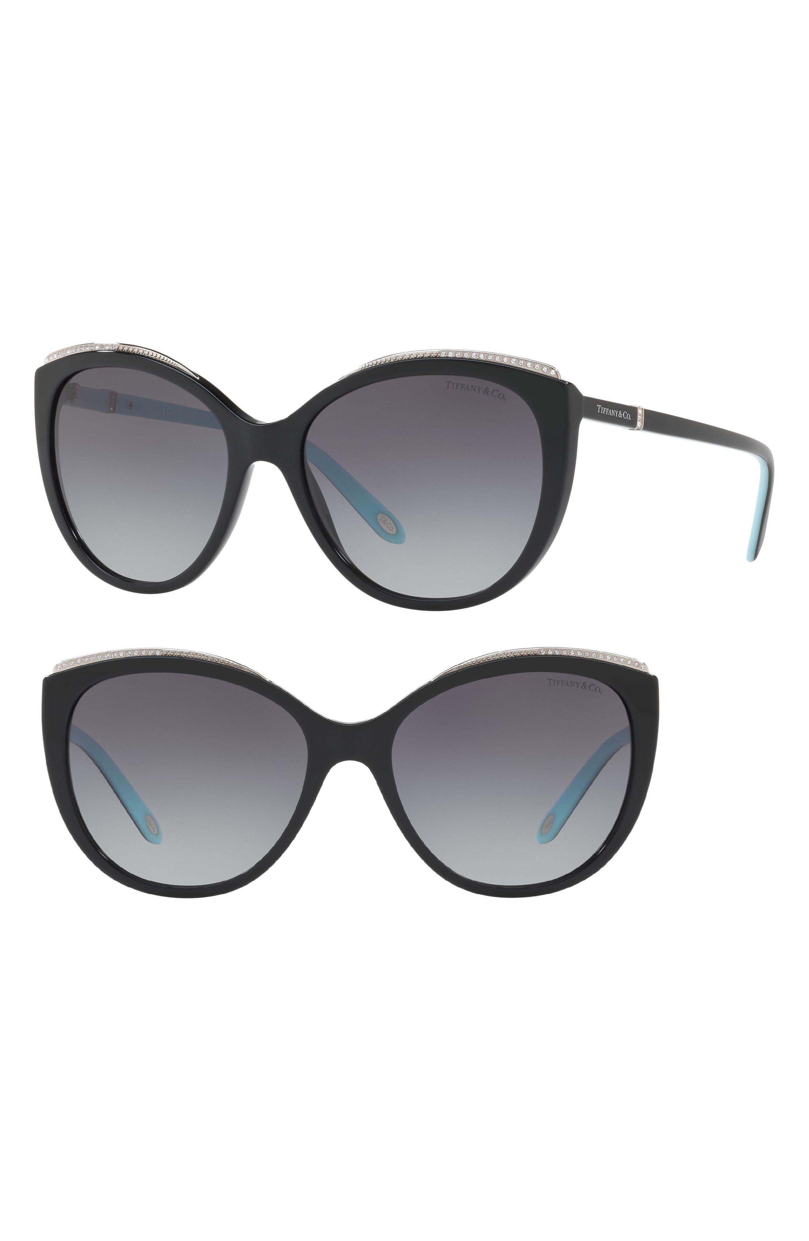 56mm Gradient Cat Eye Sunglasses,                             Alternate thumbnail 2, color,                             BLACK GRADIENT