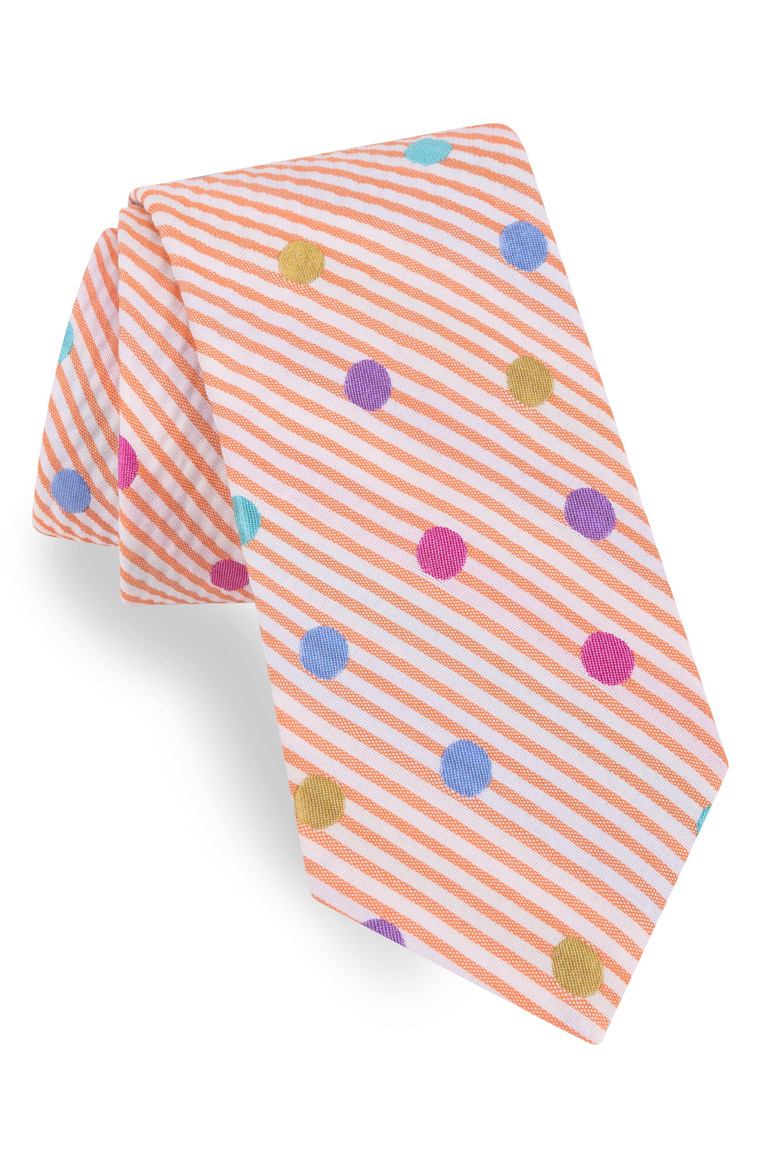 Dot Silk & Cotton Tie,                             Main thumbnail 1, color,                             800