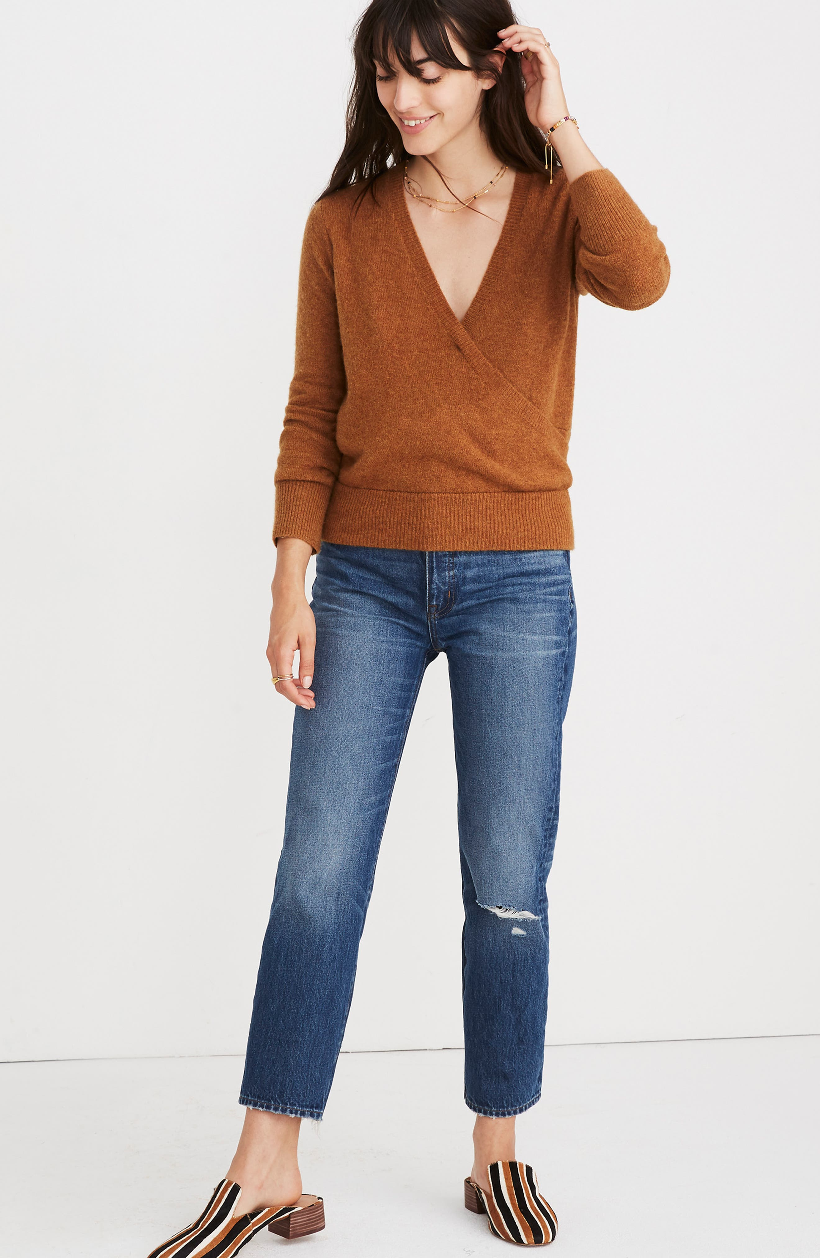 Faux Wrap Pullover Sweater,                             Alternate thumbnail 8, color,                             HEATHER HARVEST