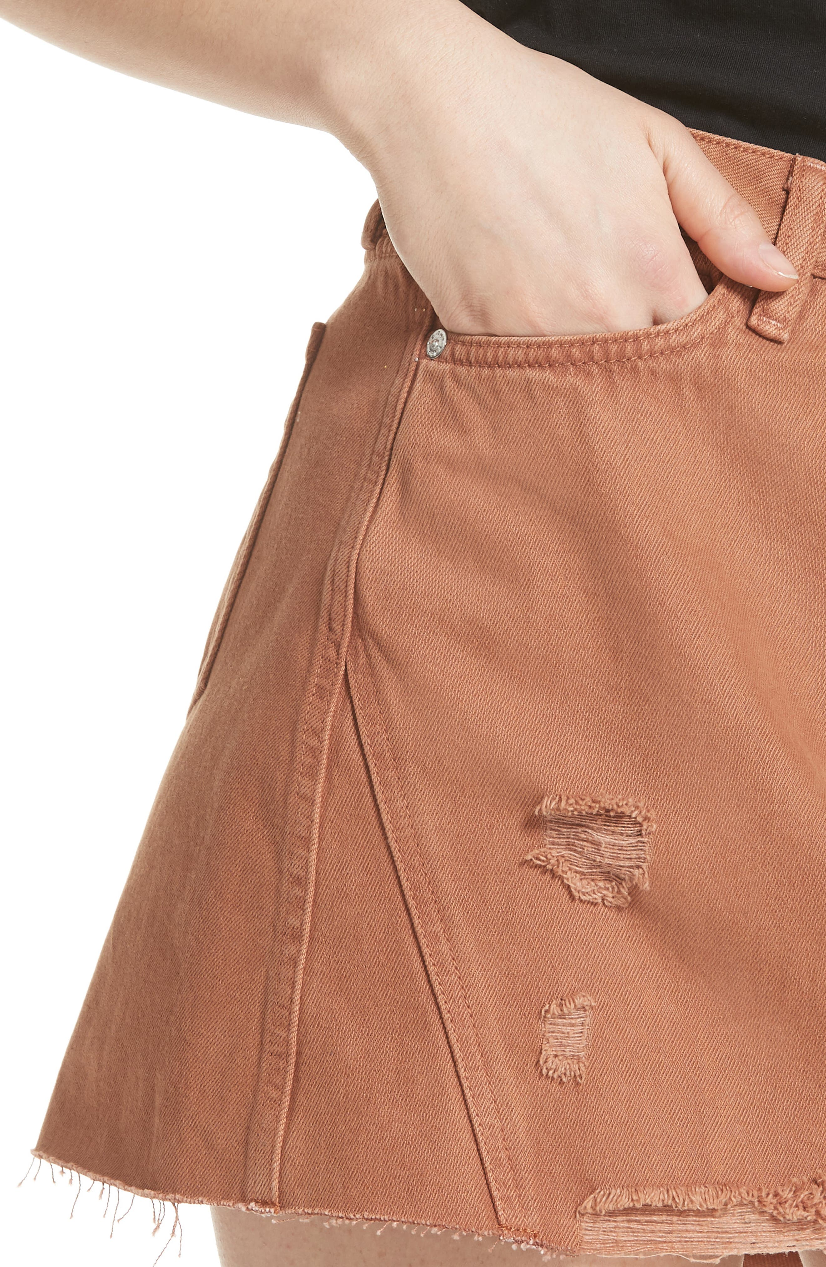 We the Free by Free People Denim A-Line Skirt,                             Alternate thumbnail 4, color,                             625