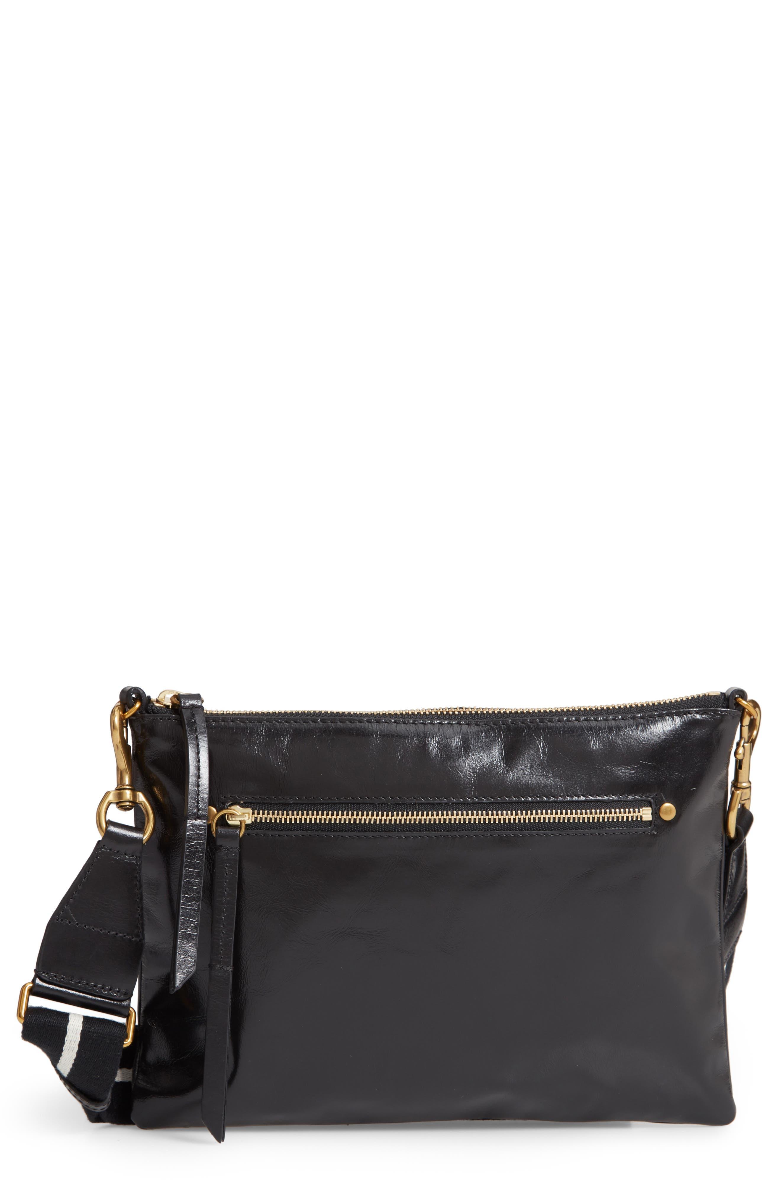 Nessah Leather Crossbody Bag,                         Main,                         color, BLACK