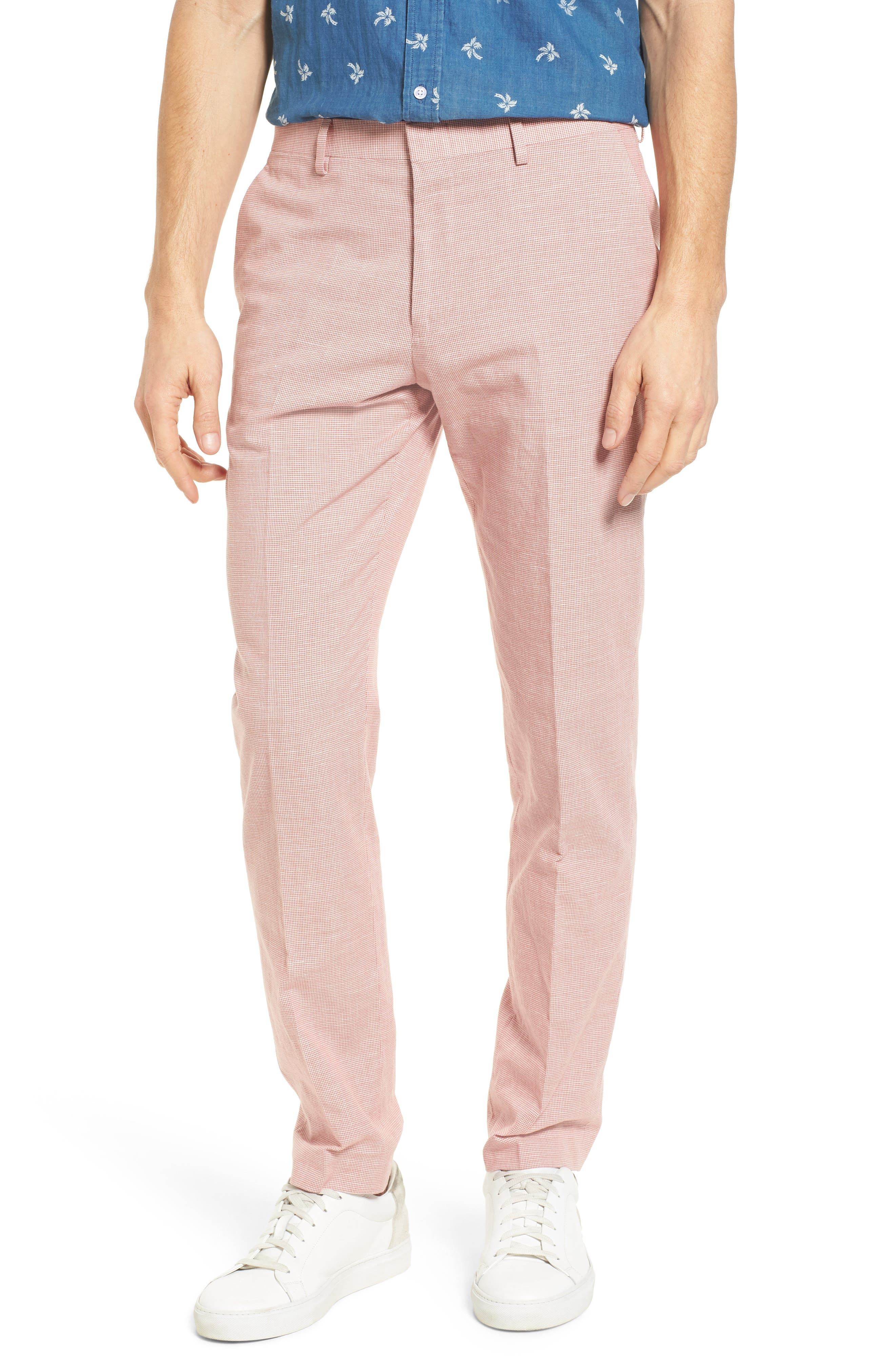 Ludlow Trim Fit Houndstooth Cotton & Linen Suit Pants,                             Main thumbnail 2, color,