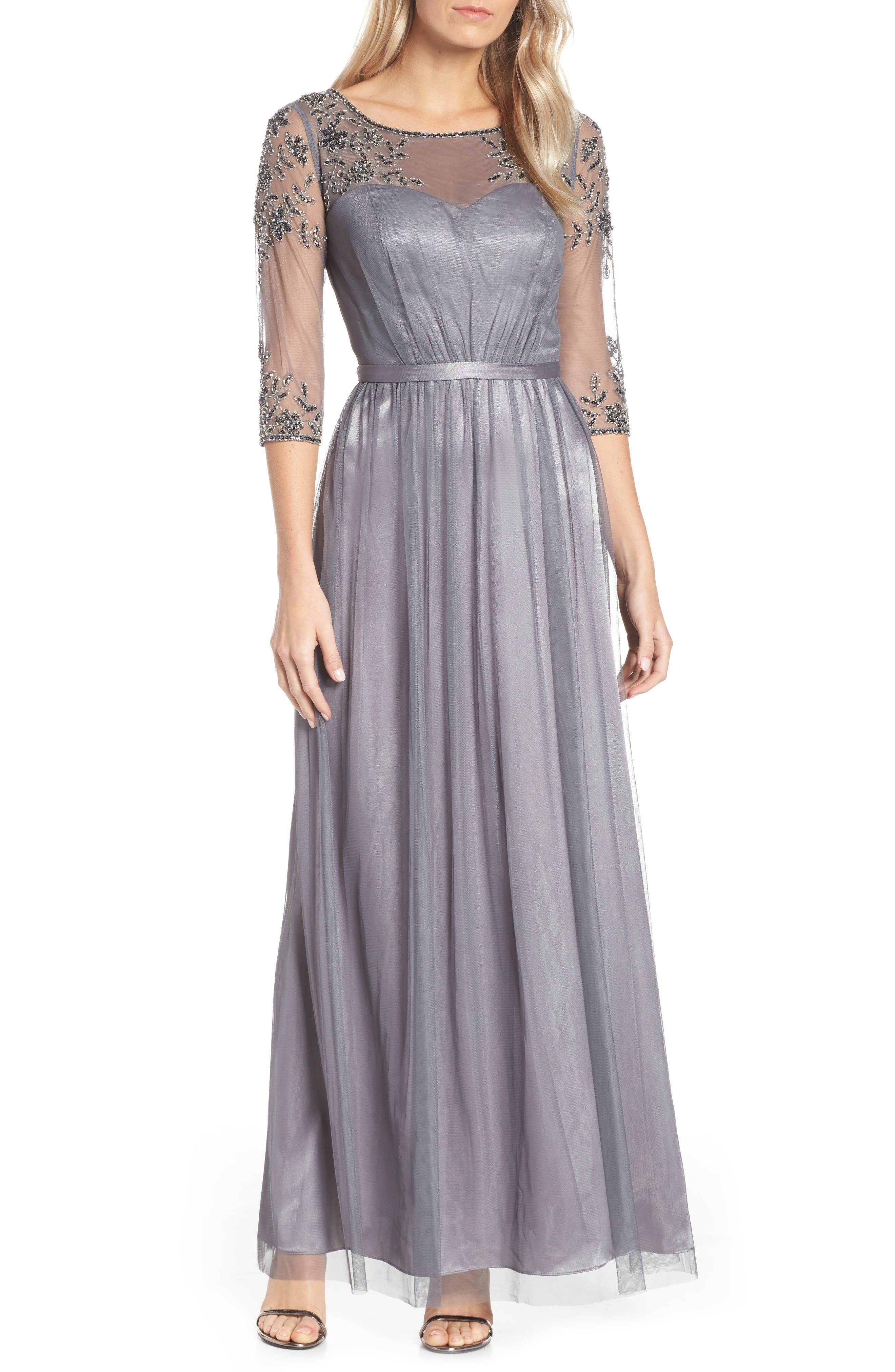 Beaded Lace Gown,                         Main,                         color, 021