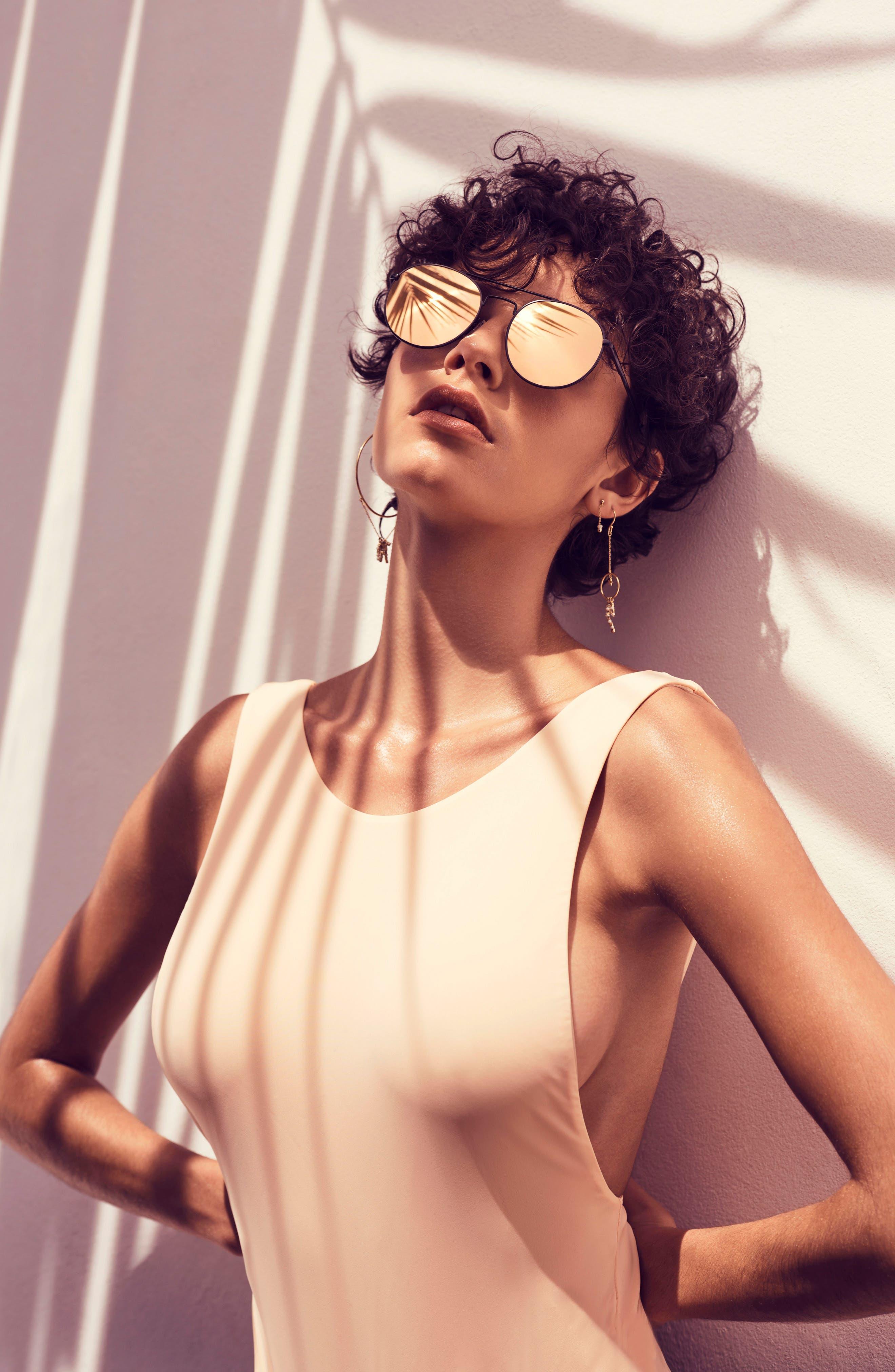 Revolution 53mm Aviator Sunglasses,                             Alternate thumbnail 4, color,                             MATTE BLACK
