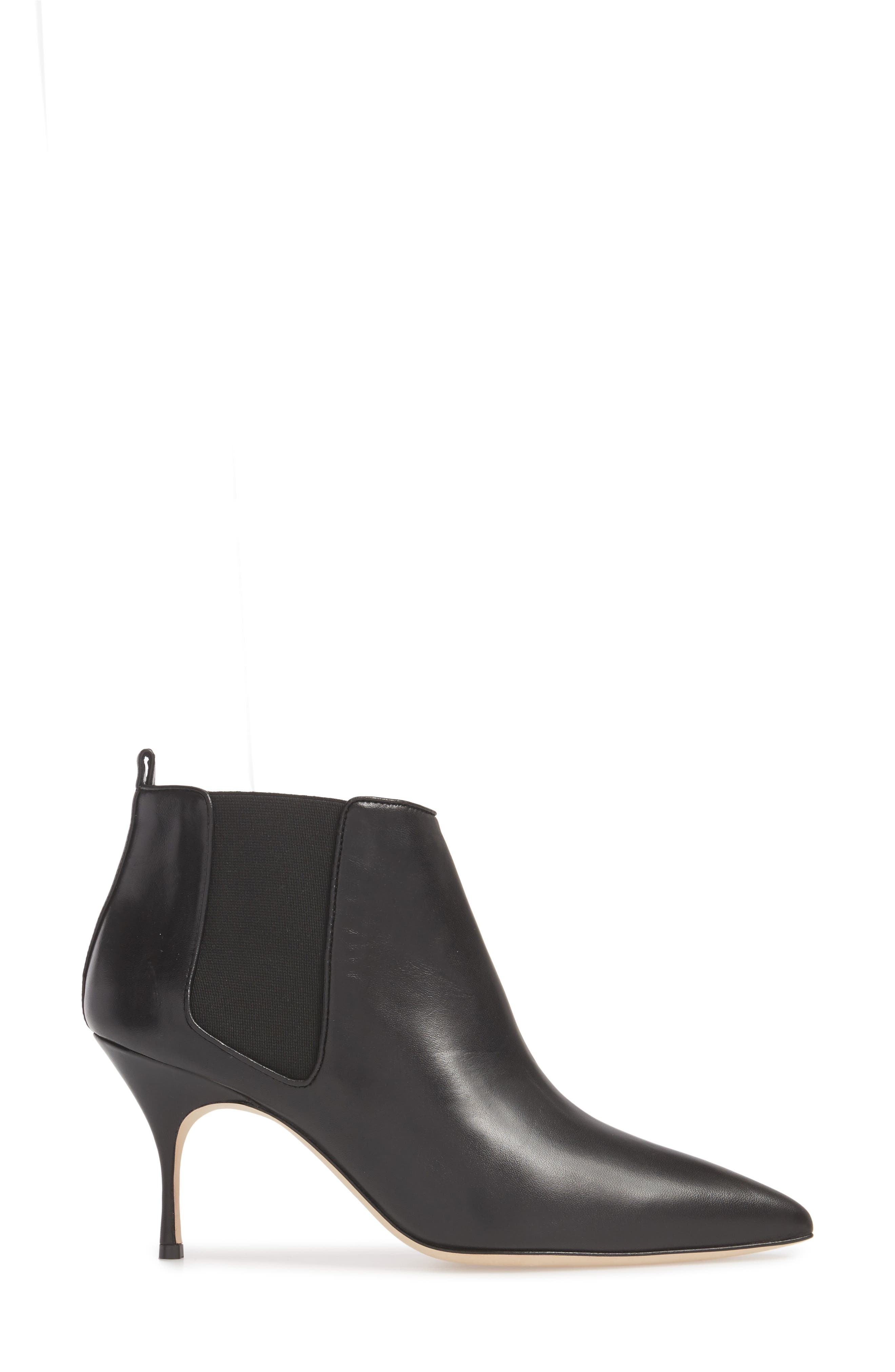 Dildi Pointy Toe Bootie,                             Alternate thumbnail 3, color,                             BLACK LEATHER