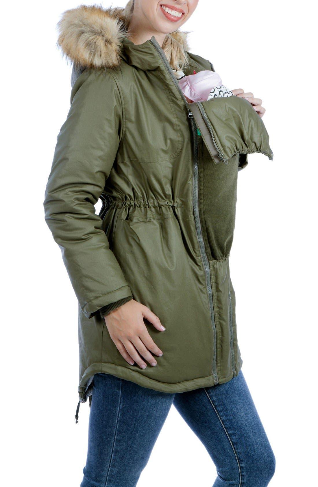 Sofia Waxed 3-in-1 Maternity/Nursing Jacket with Faux Fur Trim,                             Alternate thumbnail 3, color,                             KHAKI GREEN