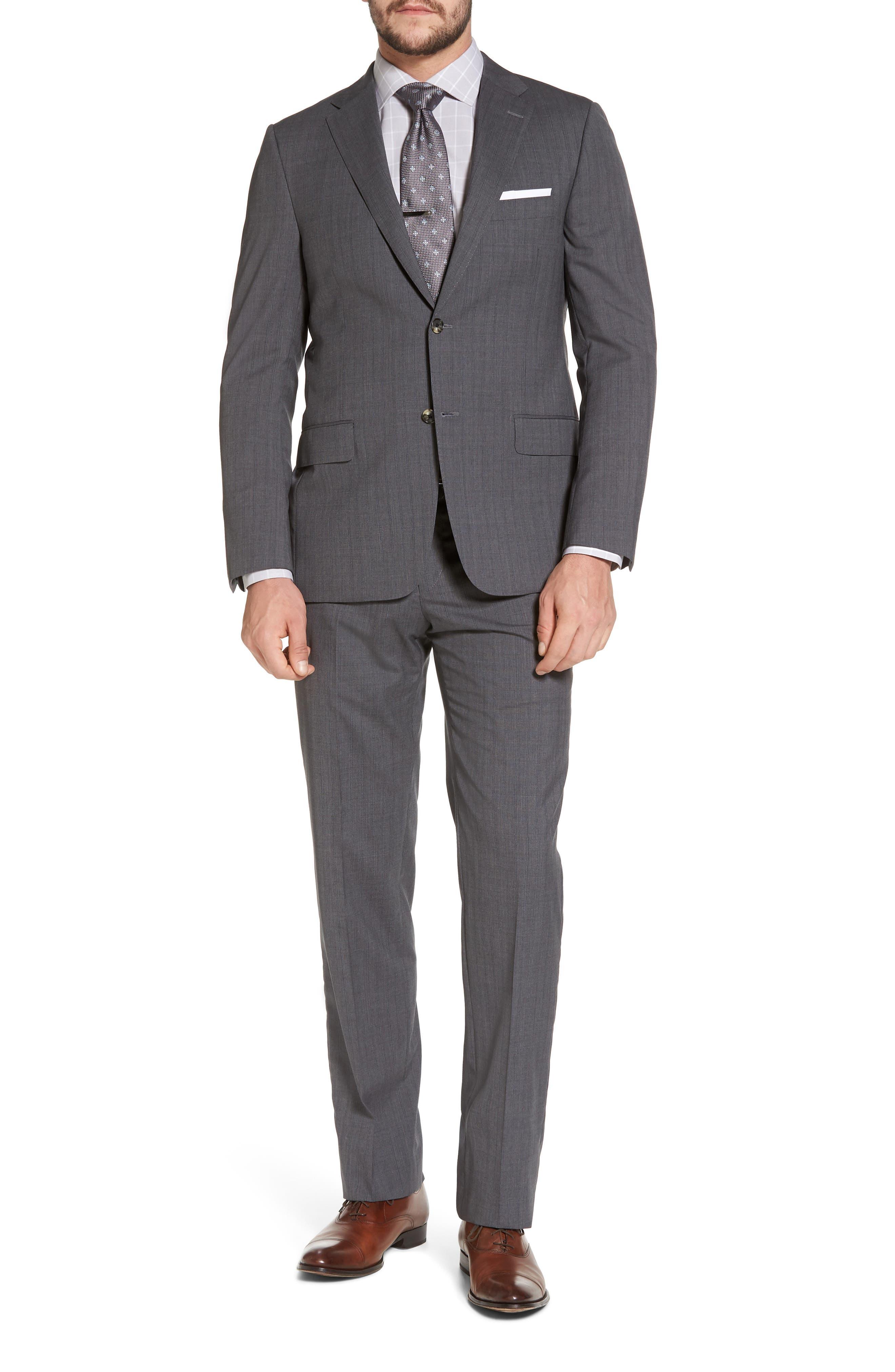Classic B Fit Stripe Wool Suit,                         Main,                         color,
