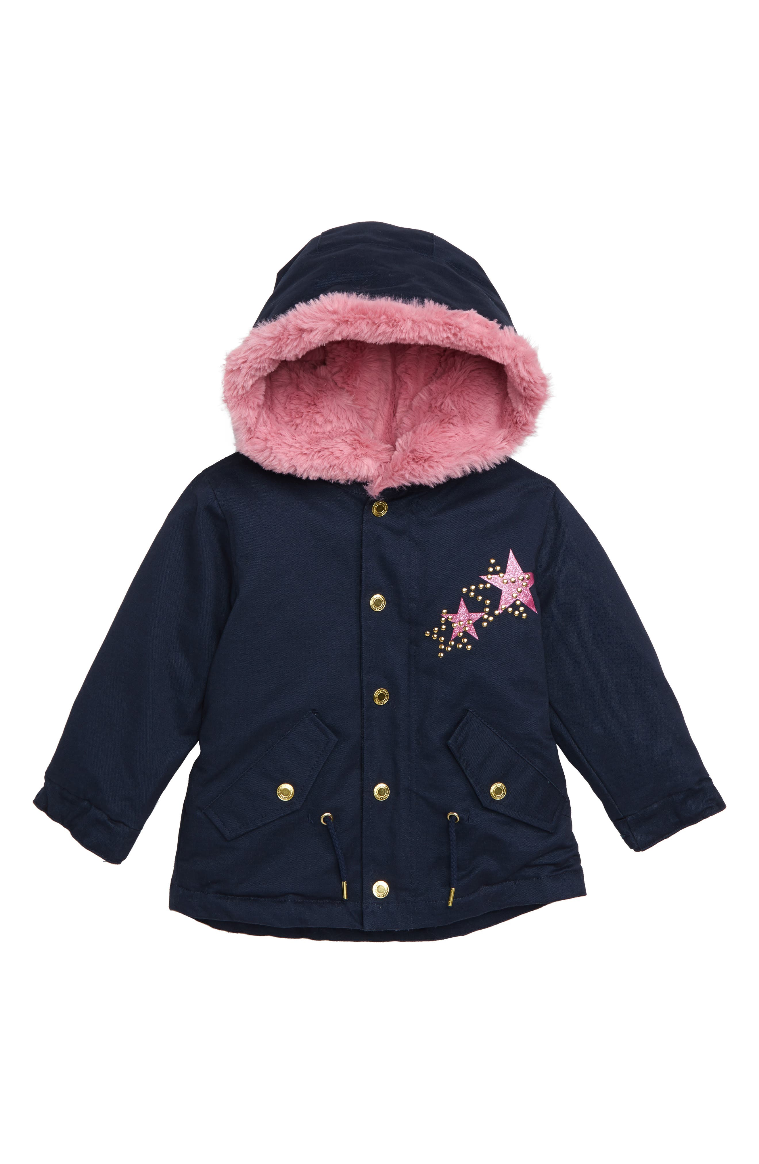 Hooded Parka with Glitter,                             Main thumbnail 1, color,                             DARK INDIGO