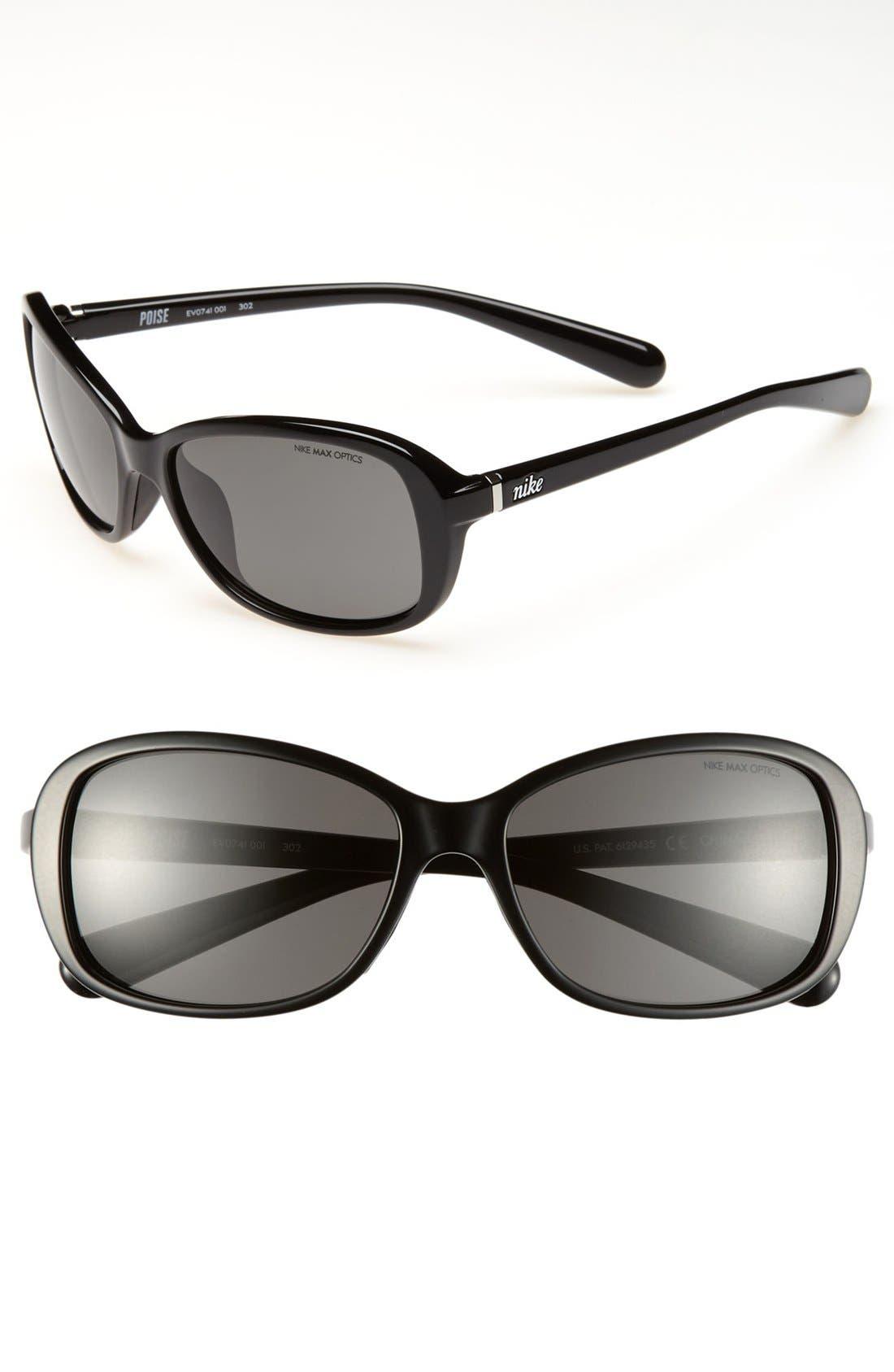 'Poise' 57mm Sunglasses, Main, color, 001