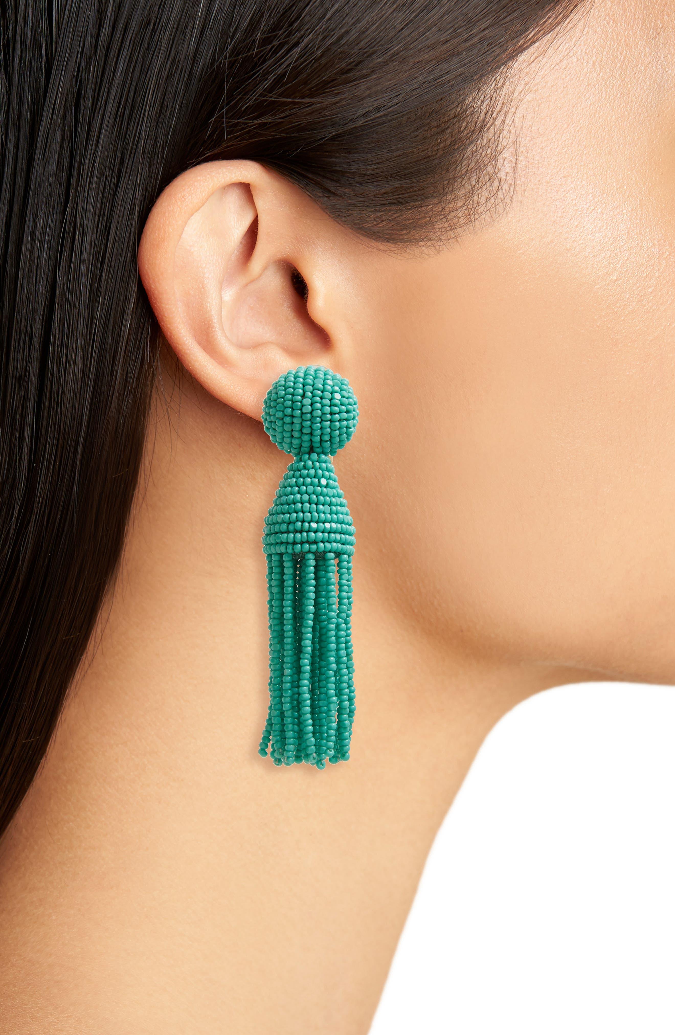 'Classic Short' Tassel Drop Clip Earrings,                             Alternate thumbnail 30, color,