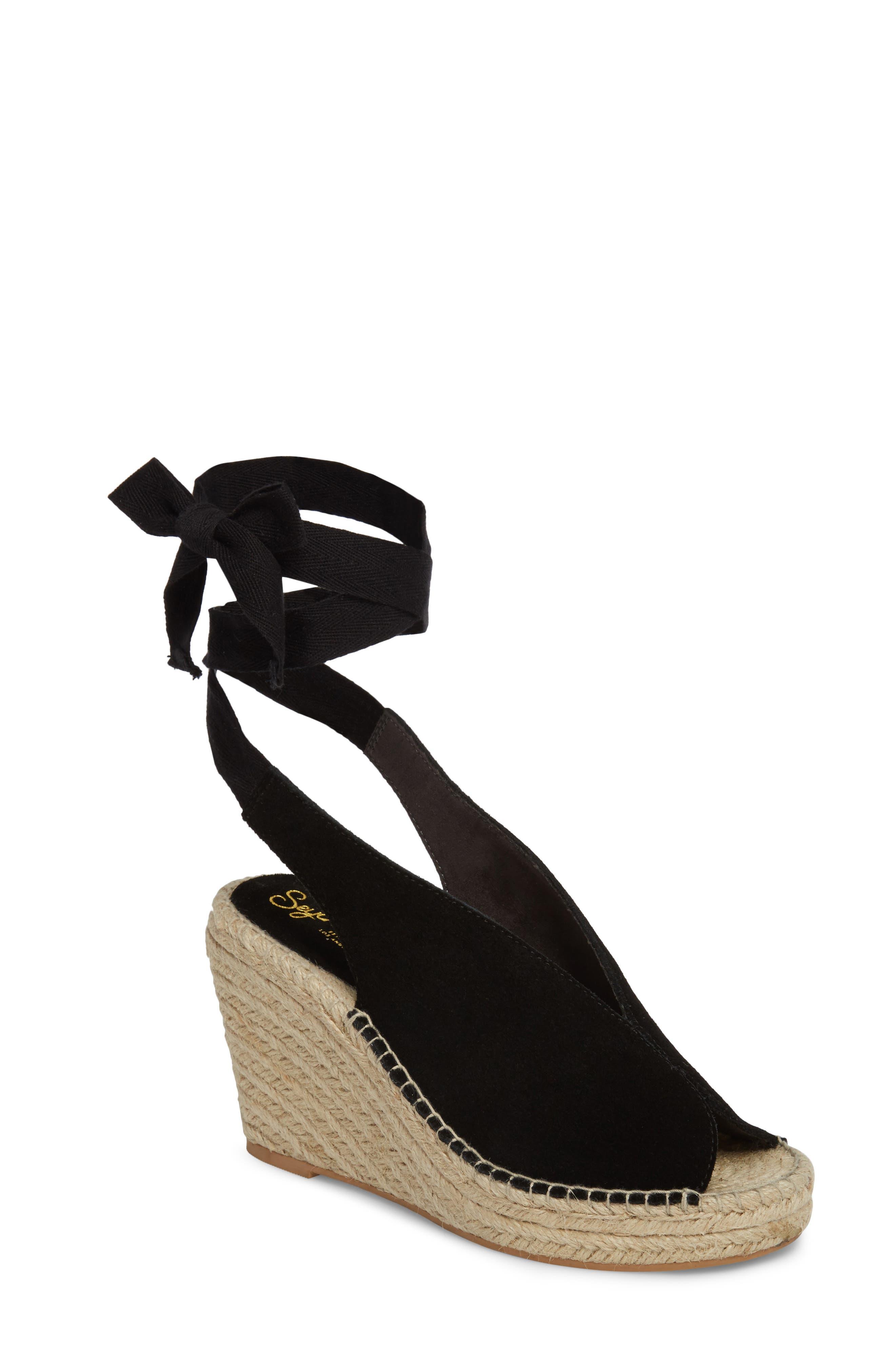 Interrelated Espadrille Wedge Sandal,                             Main thumbnail 1, color,                             001