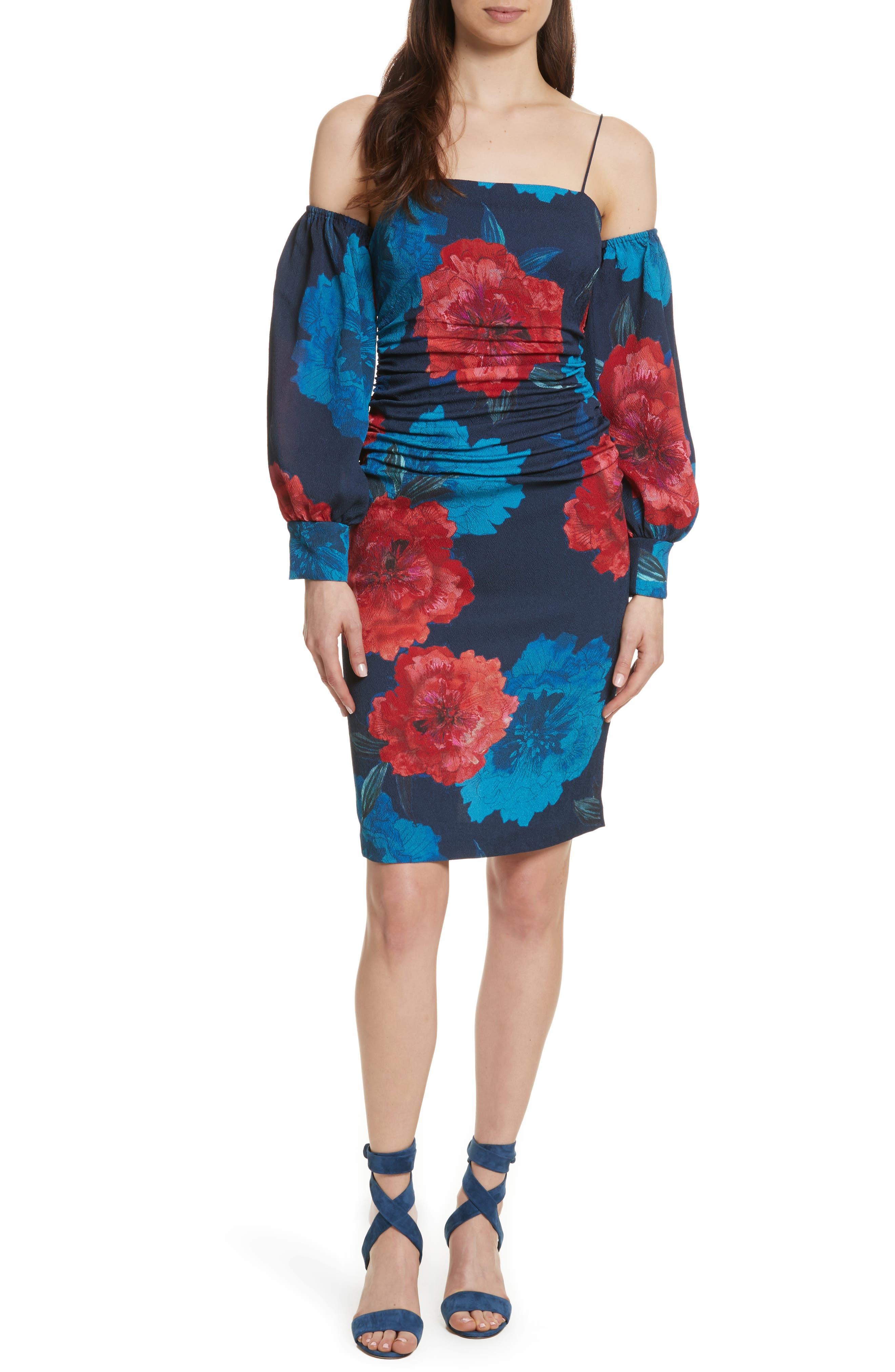 Strapping Cold Shoulder Silk Dress,                             Main thumbnail 1, color,                             642