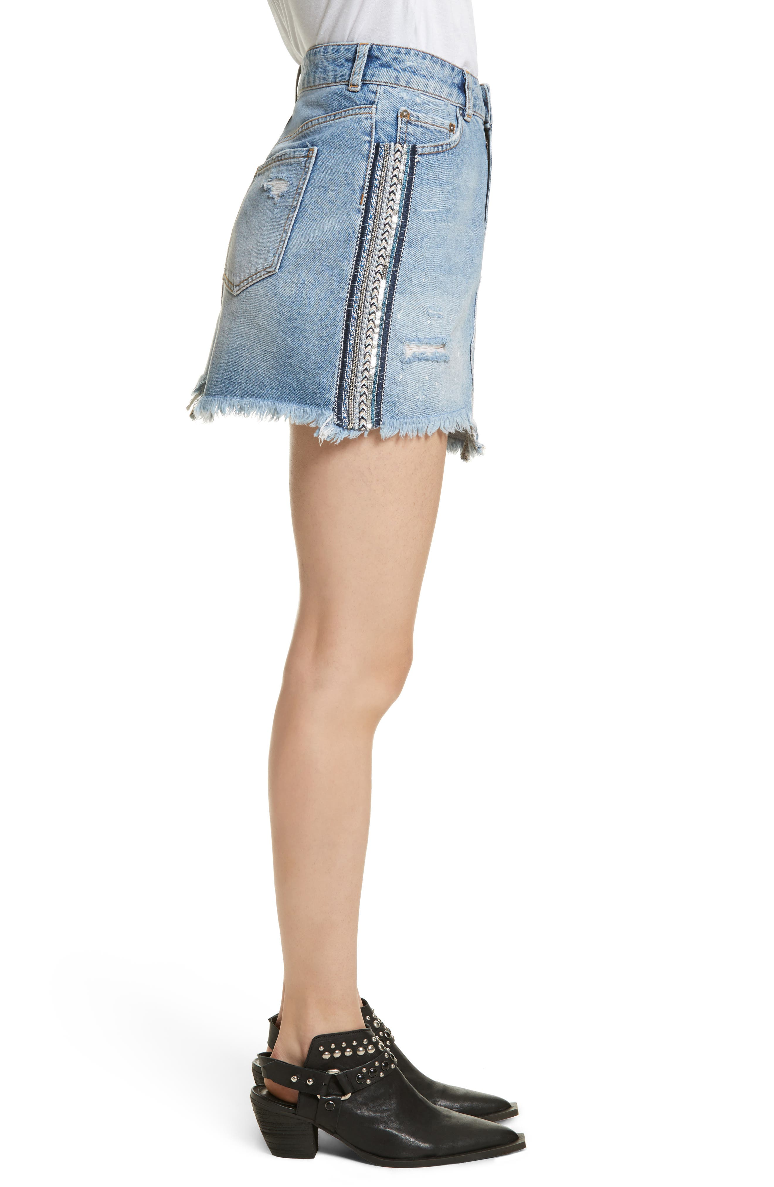 FREE PEOPLE,                             Side Stripe Embellished Miniskirt,                             Alternate thumbnail 3, color,                             400