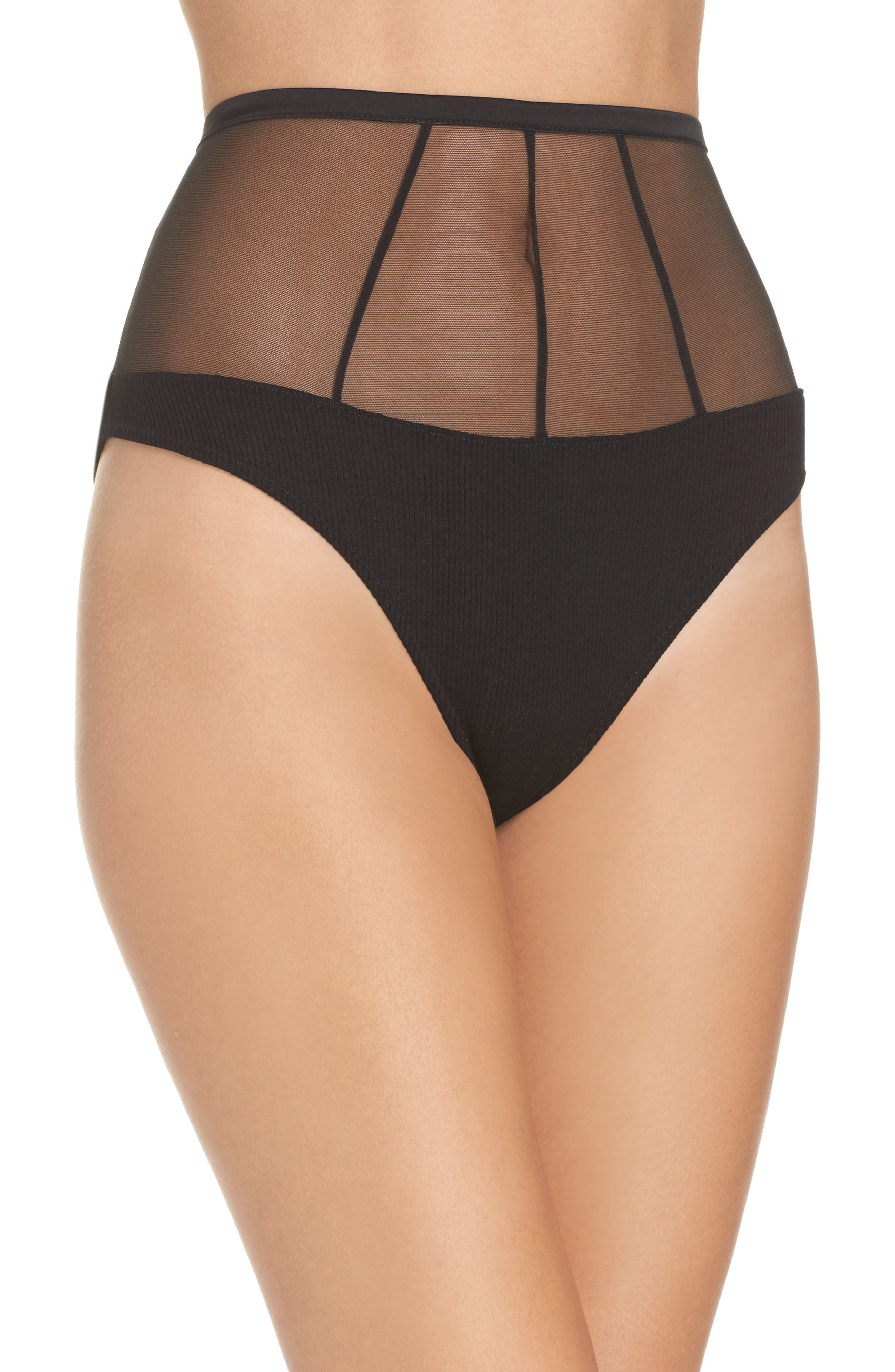 High Waist Mesh Panties,                             Main thumbnail 1, color,                             002