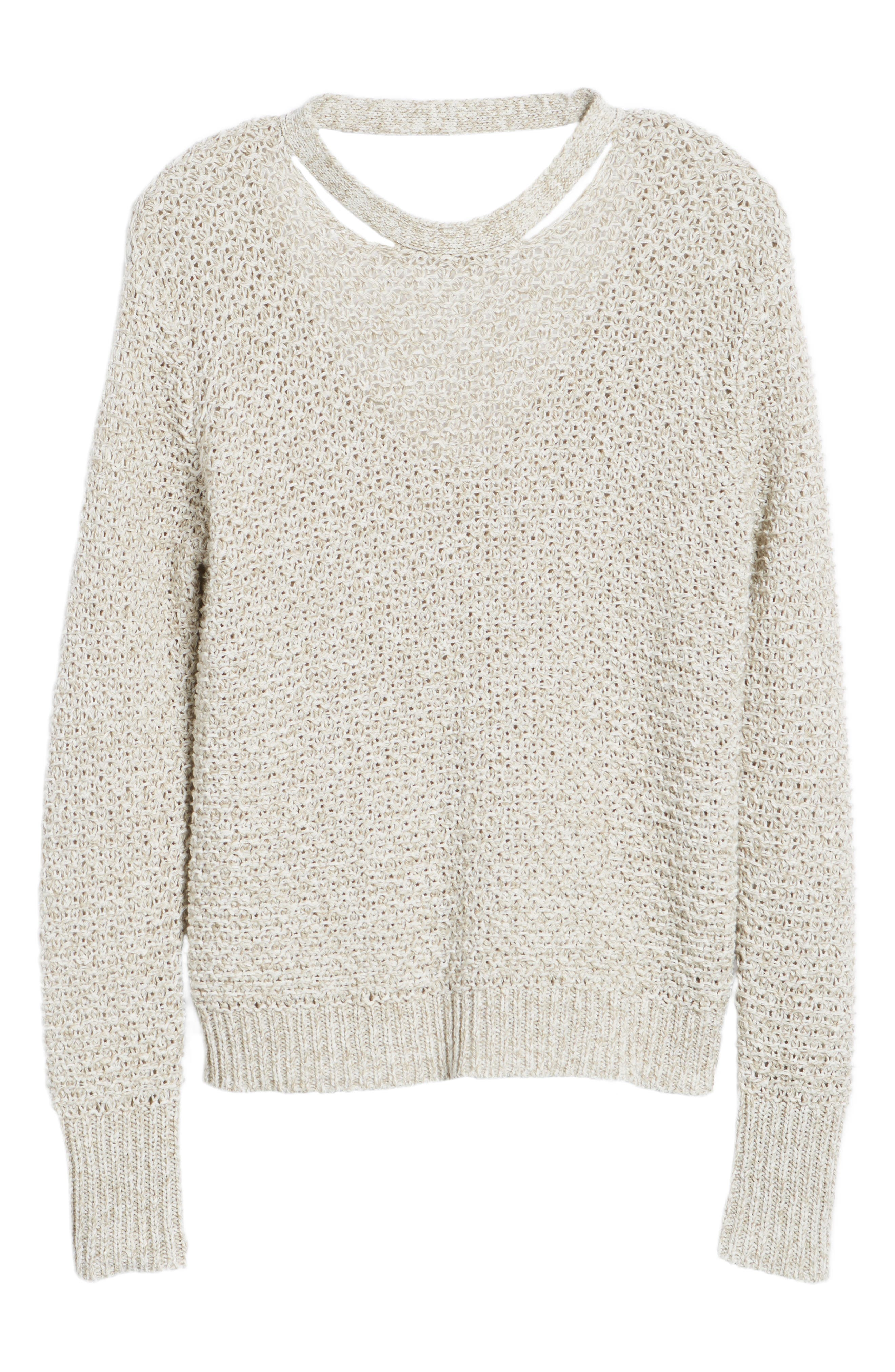 Mélange Open Back Sweater,                             Alternate thumbnail 6, color,                             238