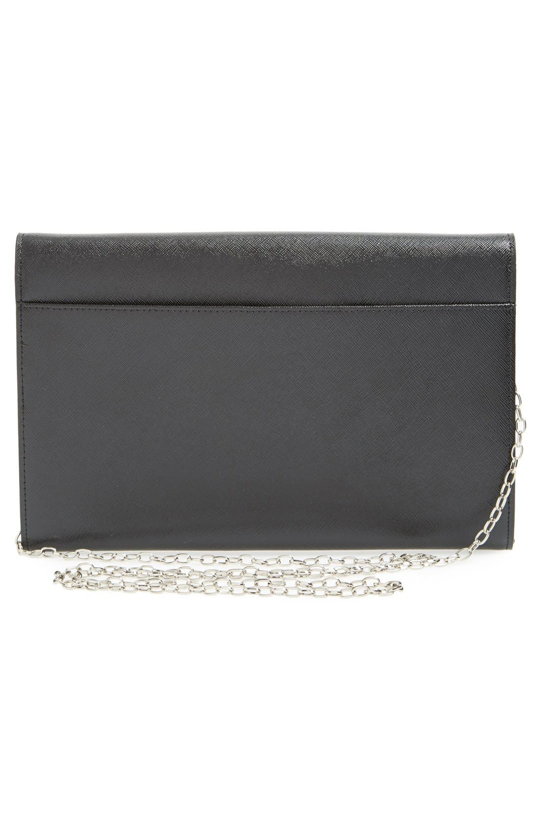Angled Leather Day Clutch,                             Alternate thumbnail 5, color,                             001