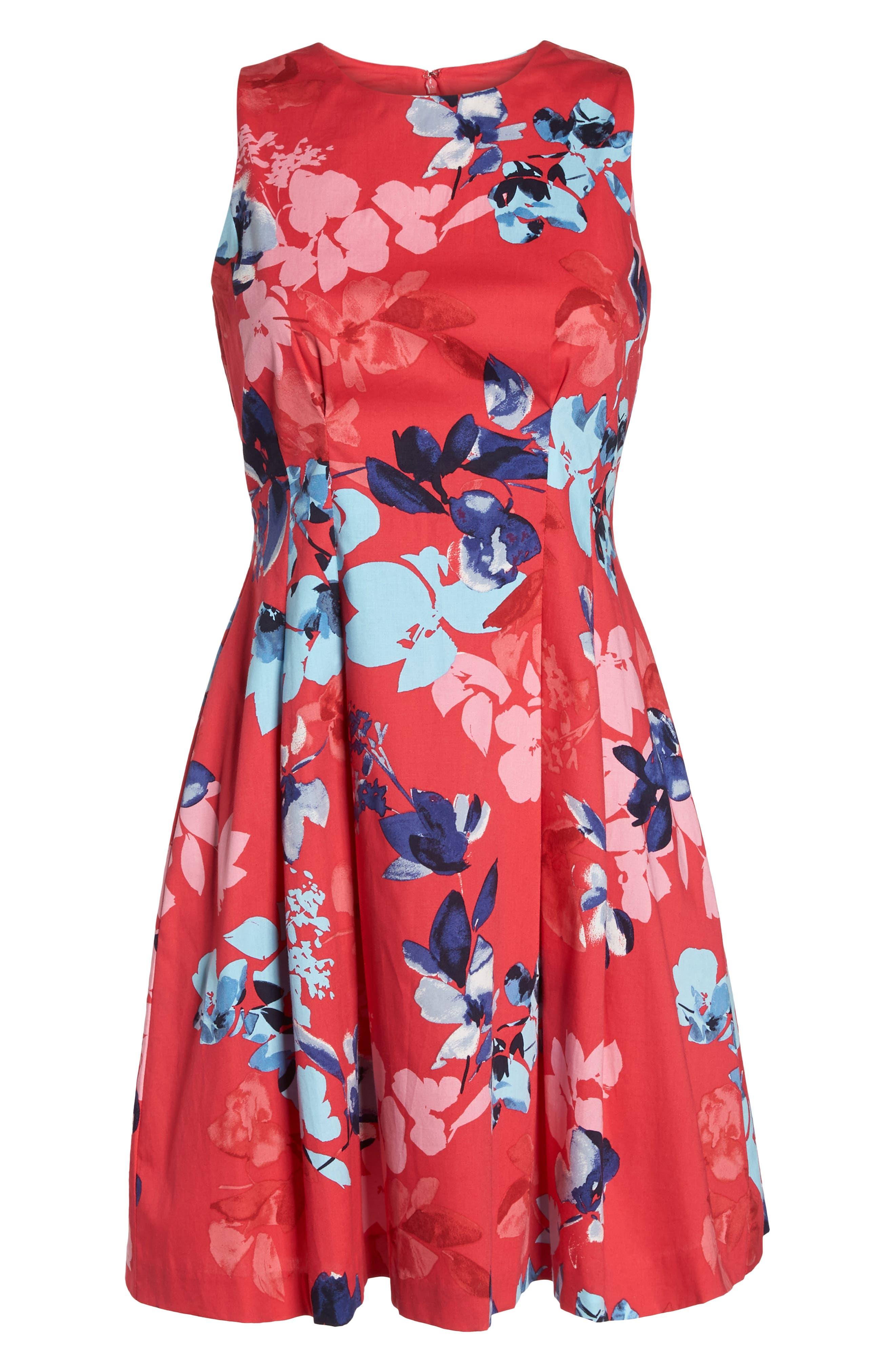 Floral Cotton Fit & Flare Dress,                             Alternate thumbnail 7, color,                             653