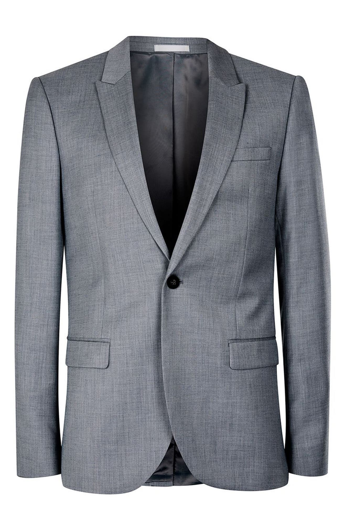 Skinny Fit Crosshatch Suit Jacket,                             Alternate thumbnail 2, color,                             MID BLUE