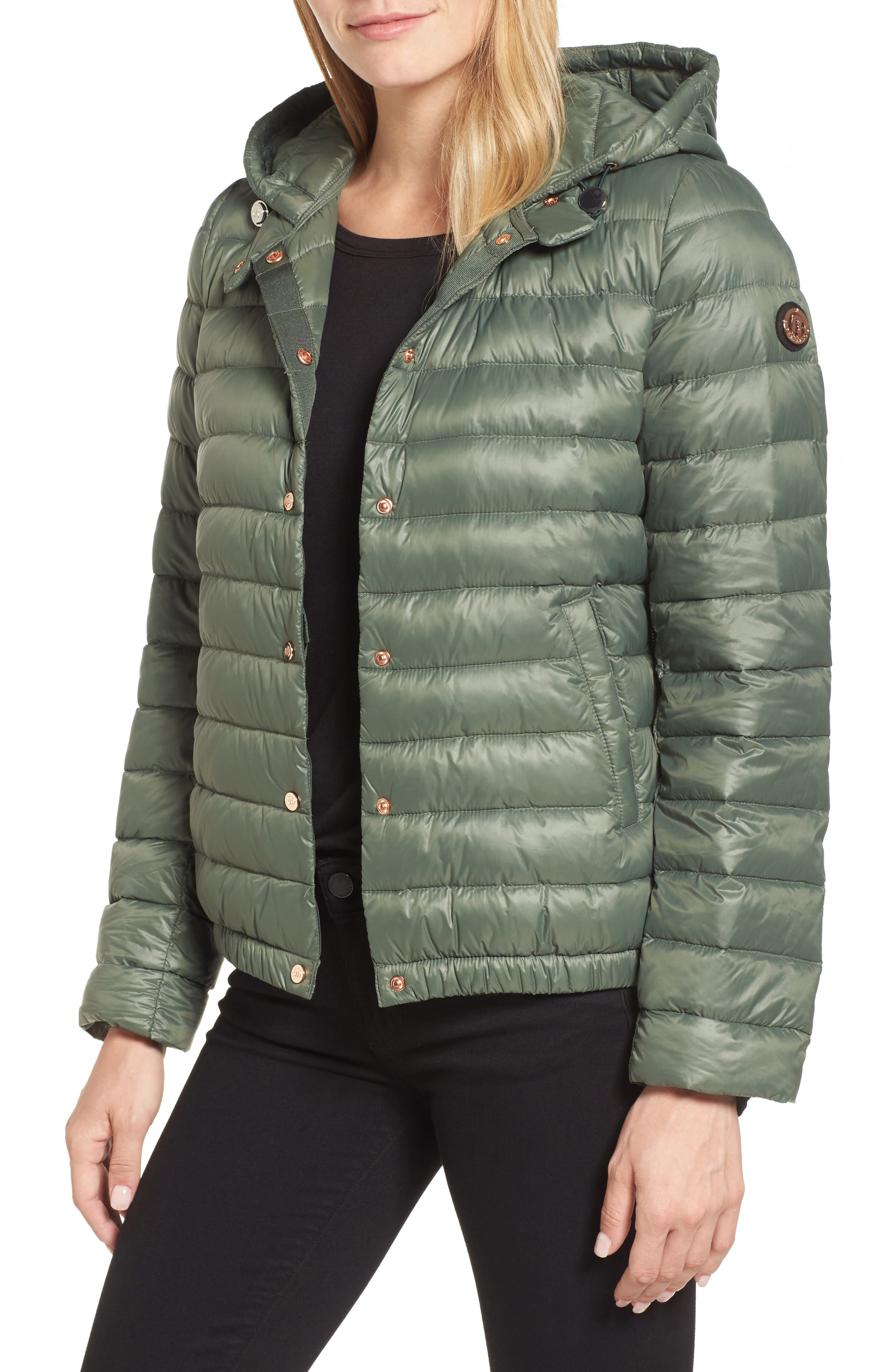Water Resistant Insulated Hooded Bomber Jacket,                             Main thumbnail 2, color,