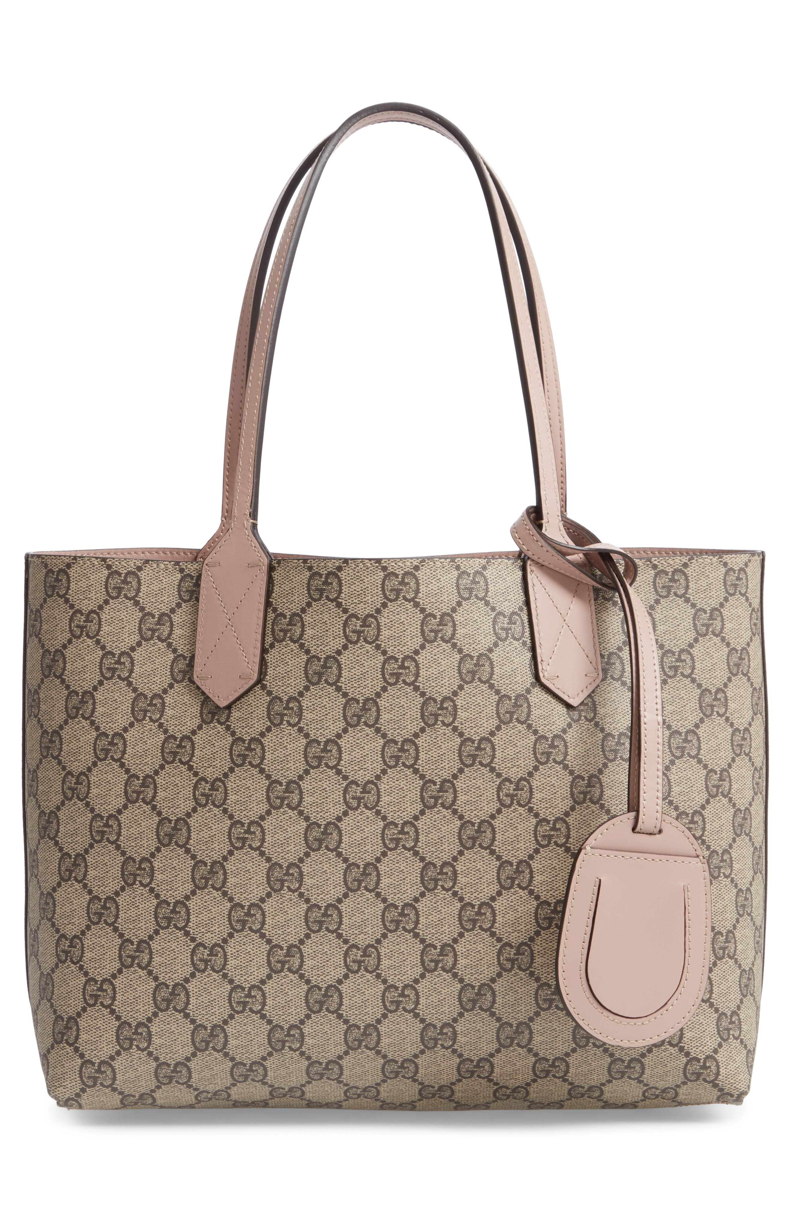 GUCCI,                             Small Turnaround Reversible Leather Tote,                             Alternate thumbnail 3, color,                             671