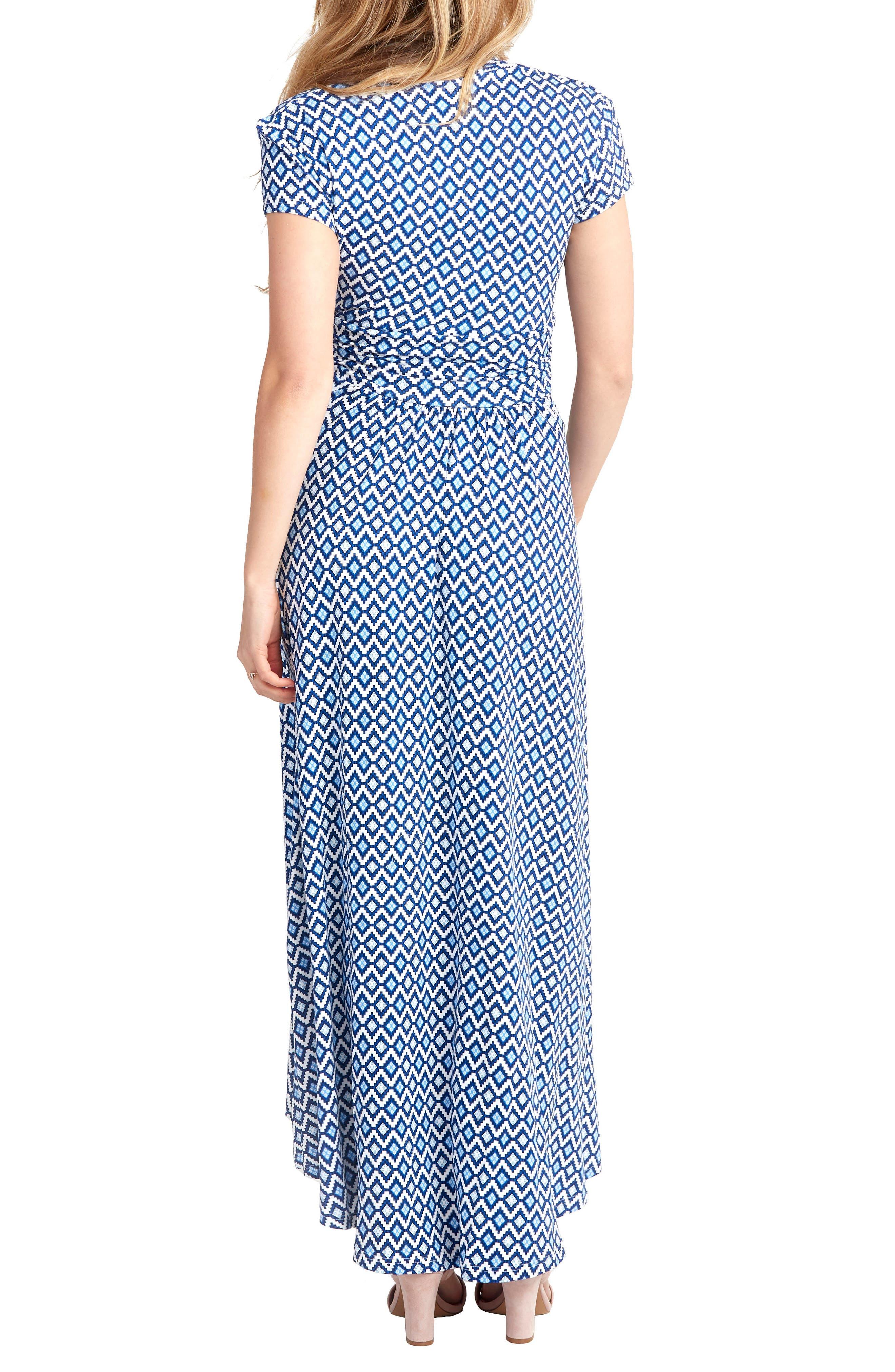'Caroline' Maternity/Nursing Maxi Dress,                             Alternate thumbnail 2, color,                             BLUE GEO