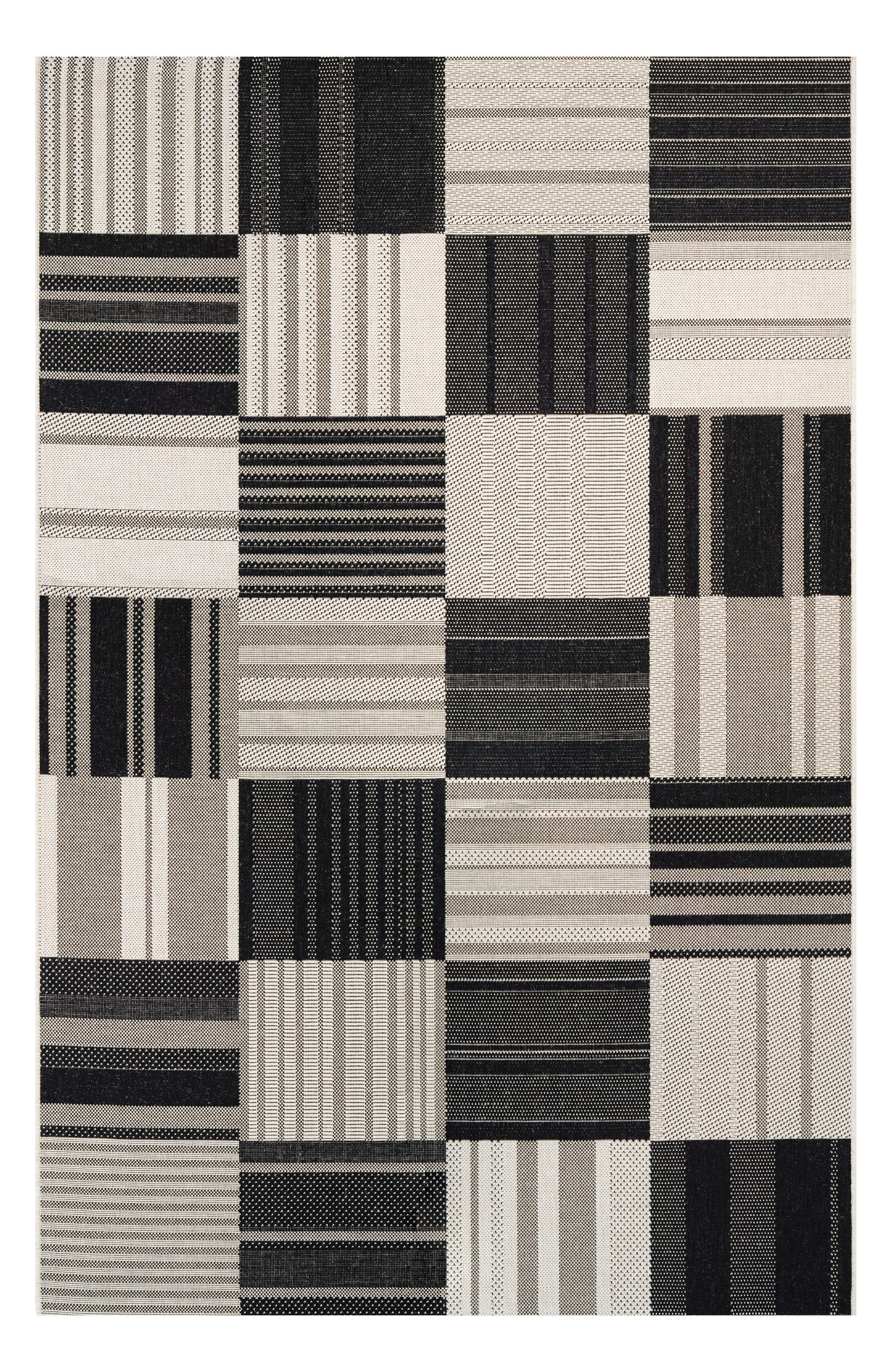 Patchwork Indoor/Outdoor Rug,                         Main,                         color, ONYX/ IVORY