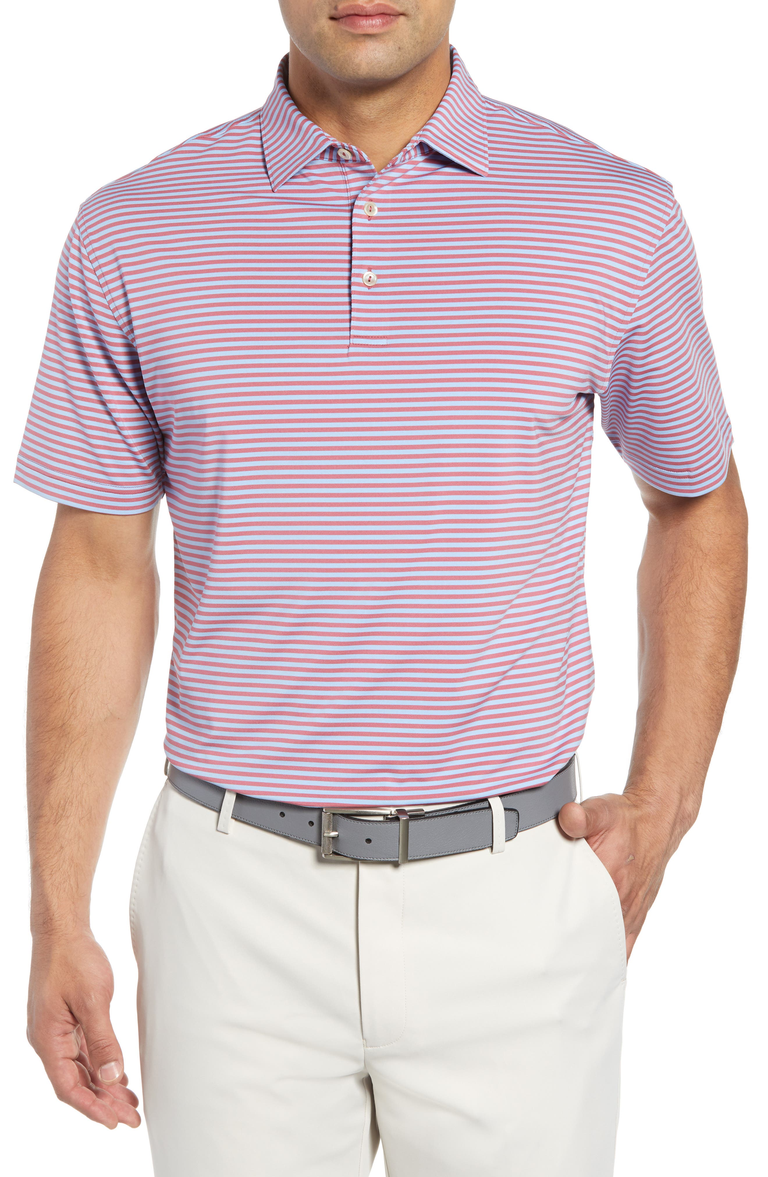 Competition Stripe Performance Polo,                             Main thumbnail 1, color,                             RADISH/ COTTAGE BLUE