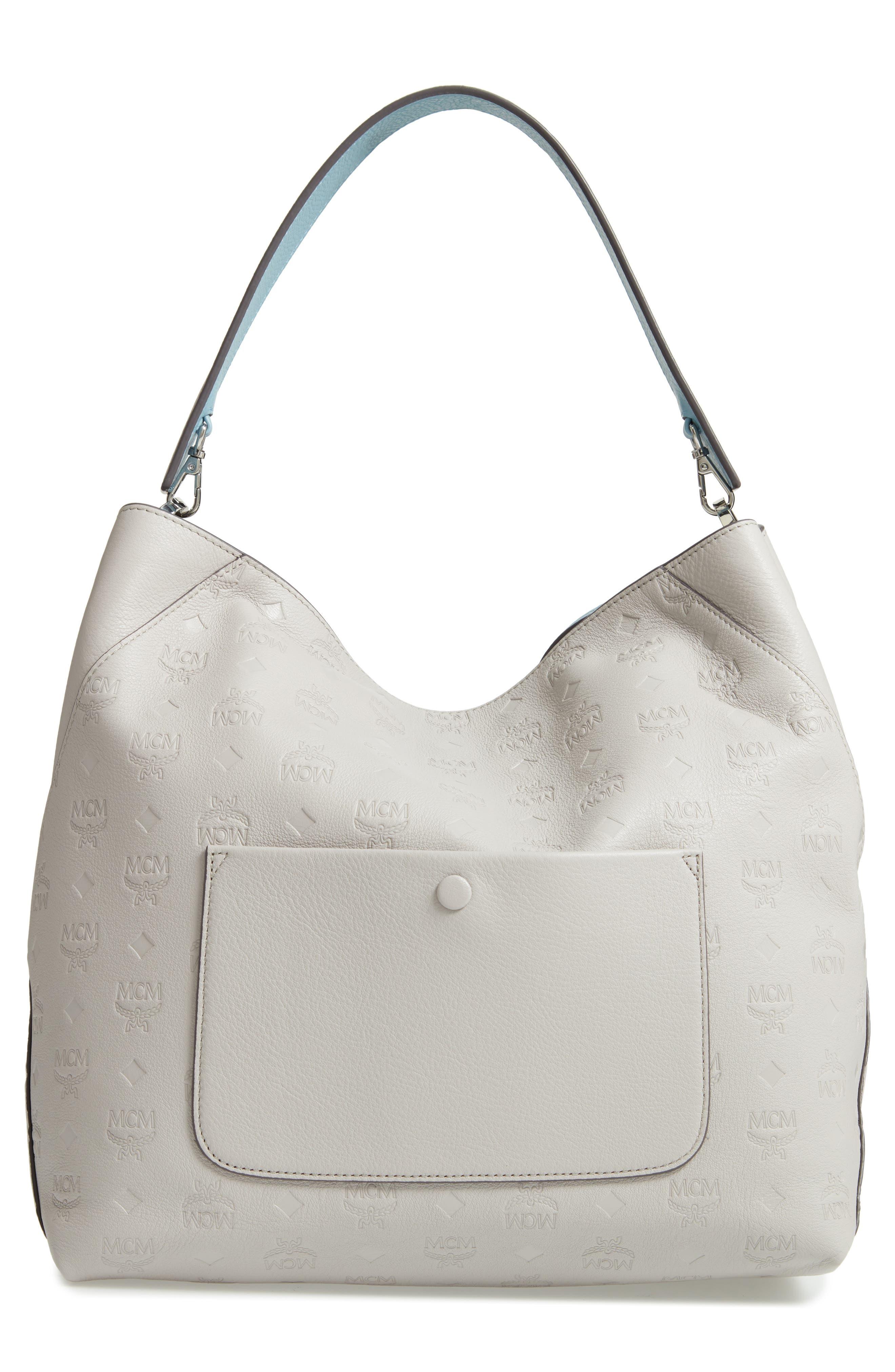 Klara Monogrammed Leather Hobo Bag,                             Alternate thumbnail 4, color,                             DOVE