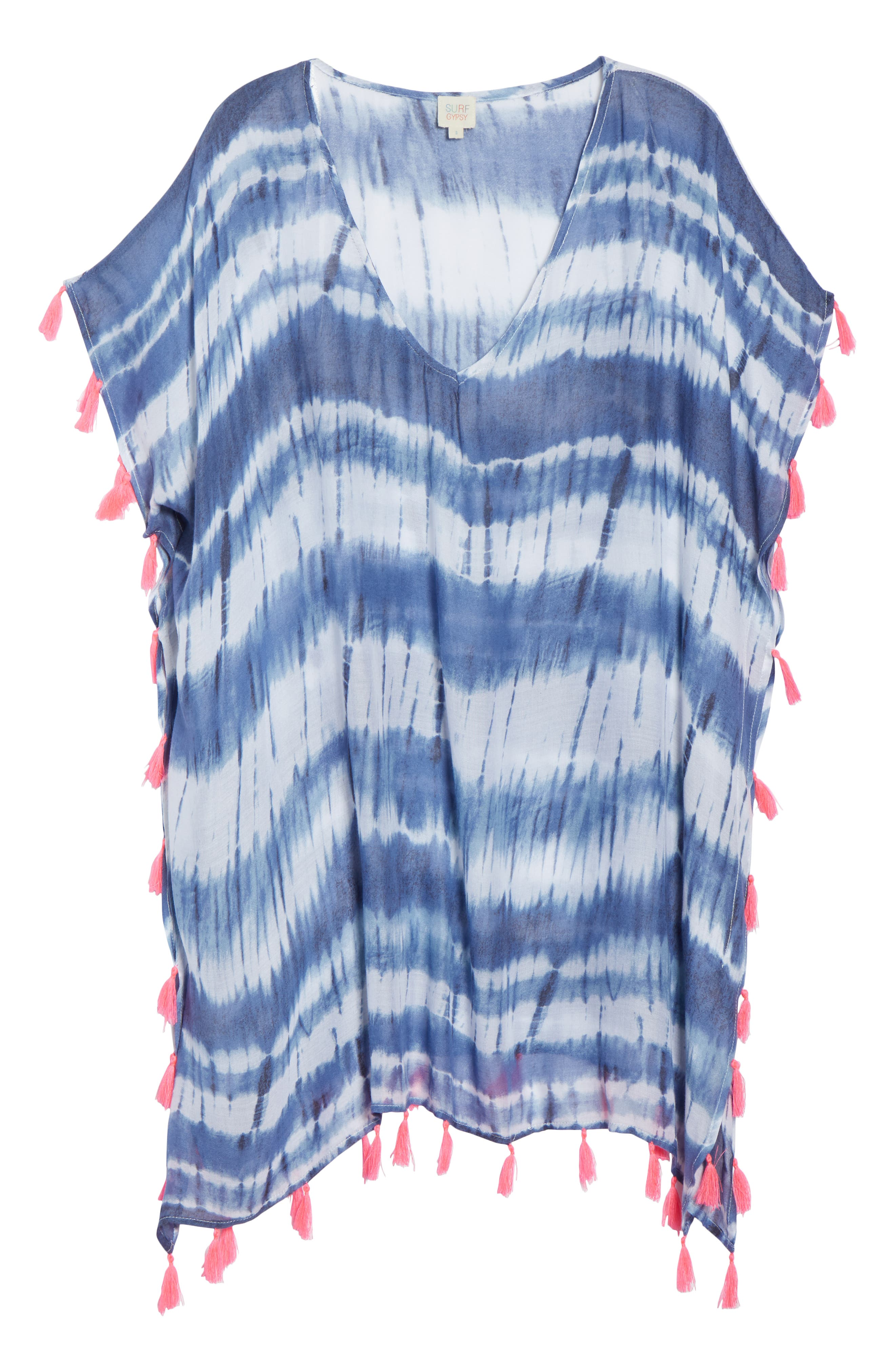 Stripe Tassel Cover-Up Poncho,                             Alternate thumbnail 6, color,                             411